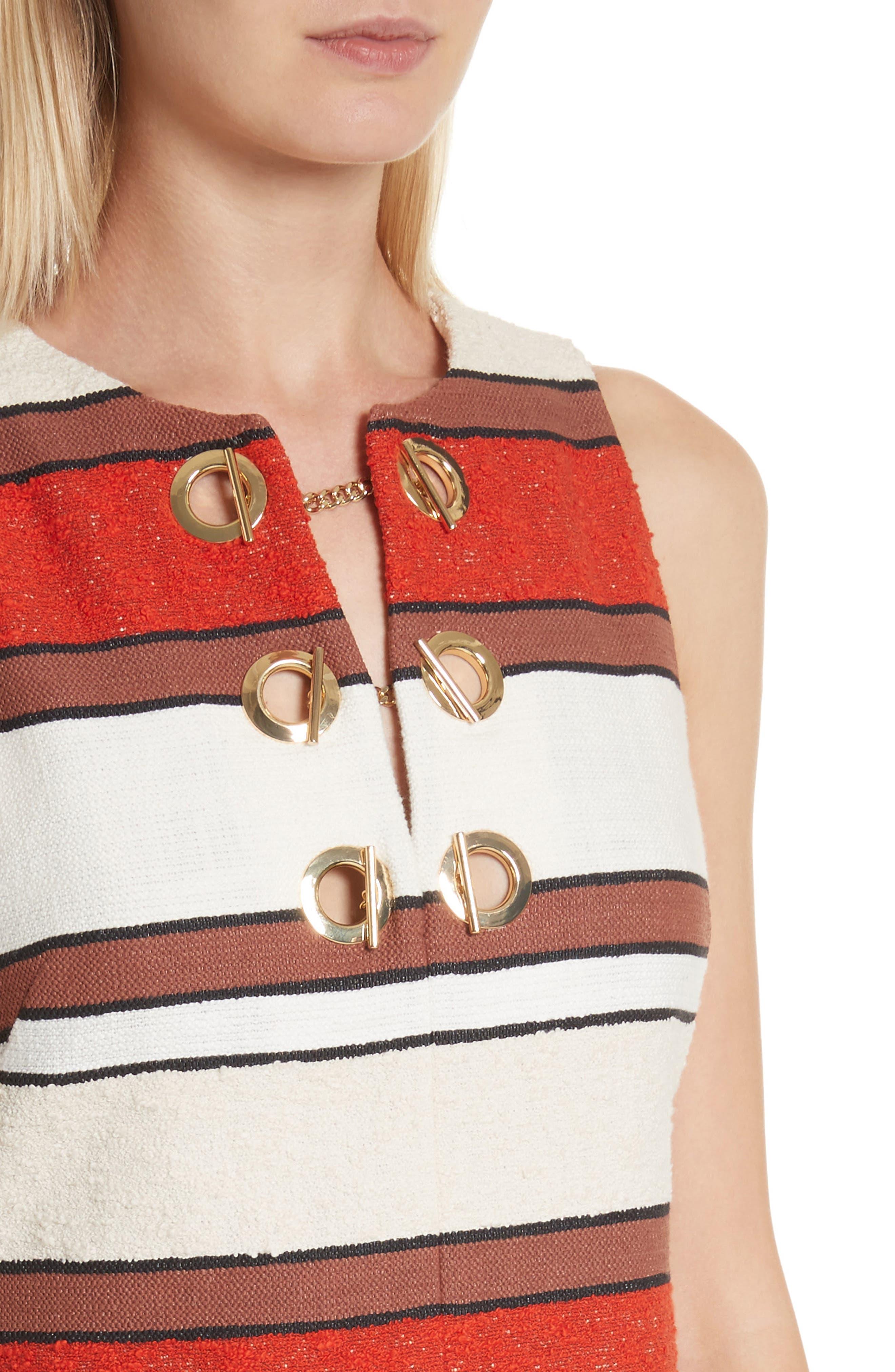 Grommet Detail Stripe Shift Dress,                             Alternate thumbnail 4, color,                             Poppy
