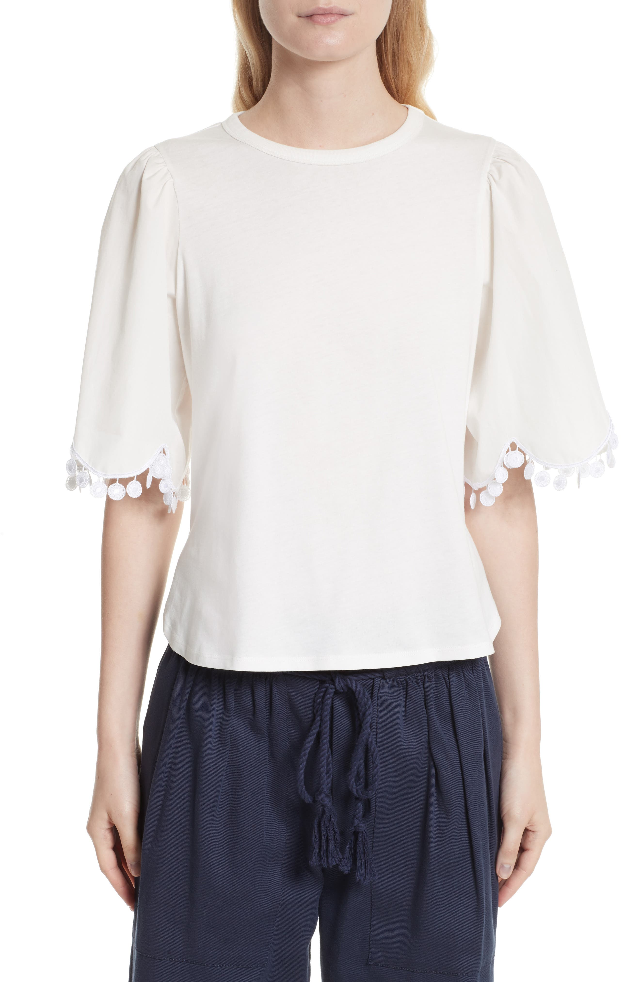See by Chloé Lace Trim Tee