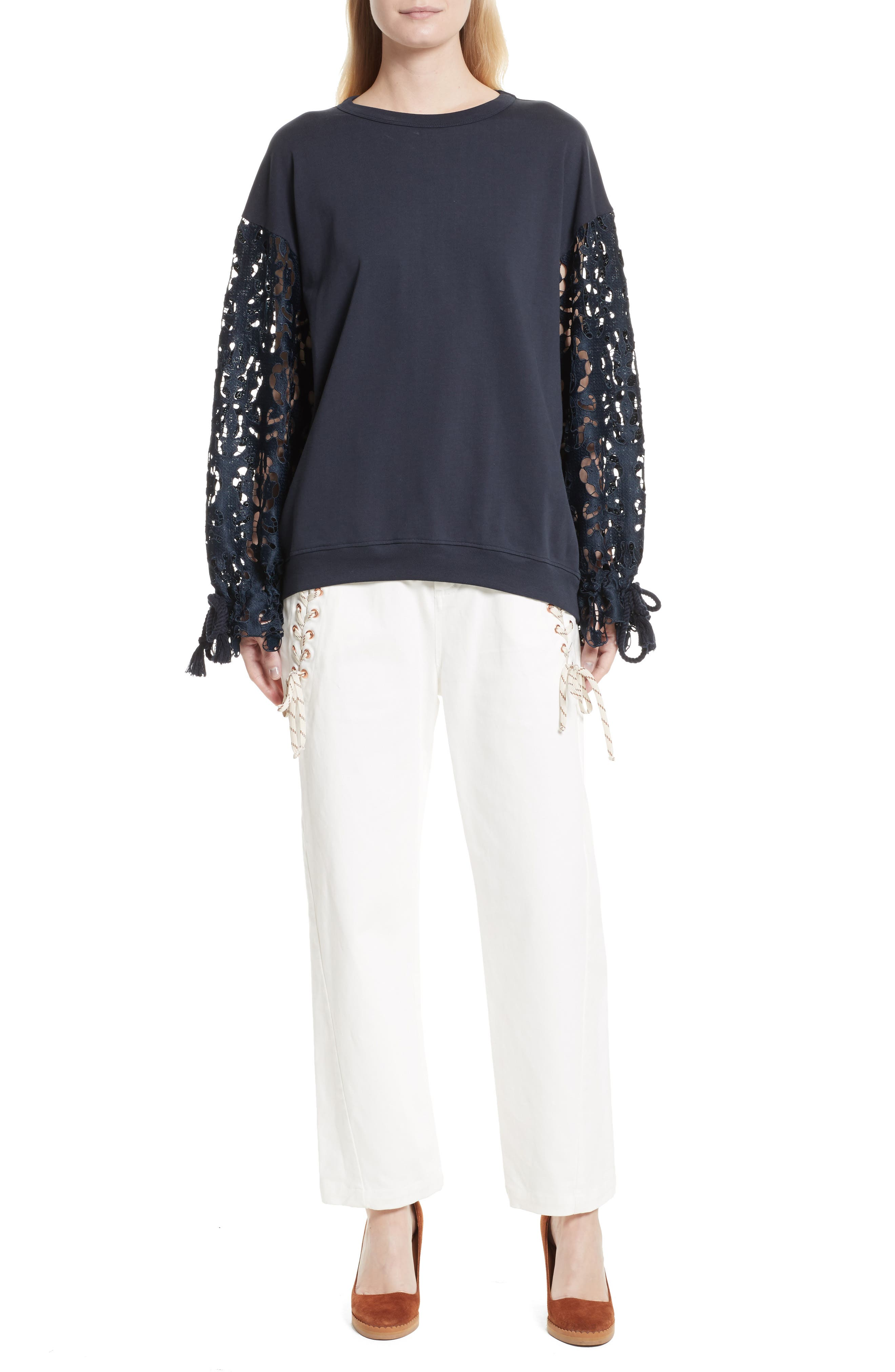 Alternate Image 7  - See by Chloé Lace Sleeve Jersey Top