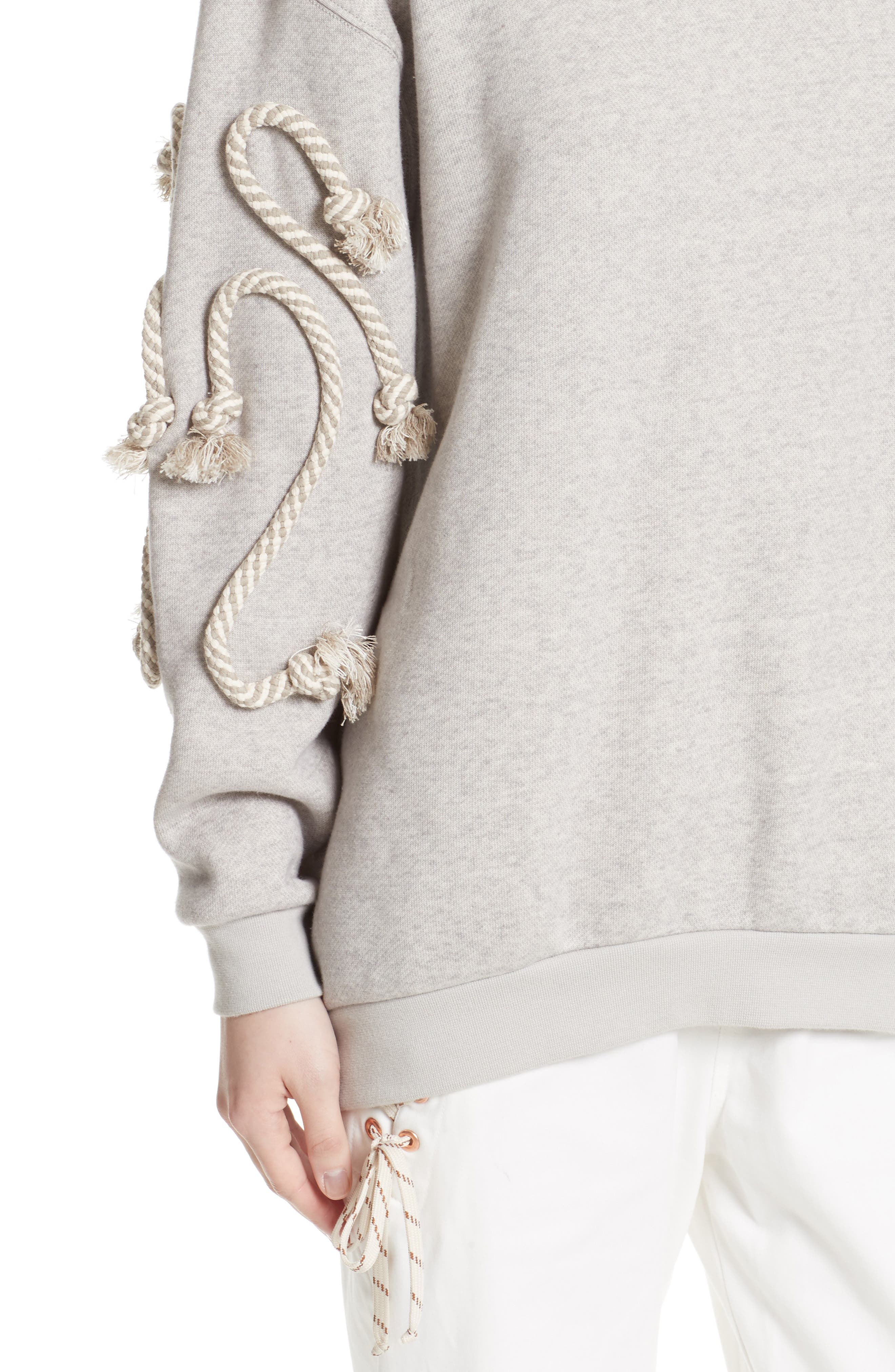Rope Trim Sweater,                             Alternate thumbnail 6, color,                             Drizzle Grey