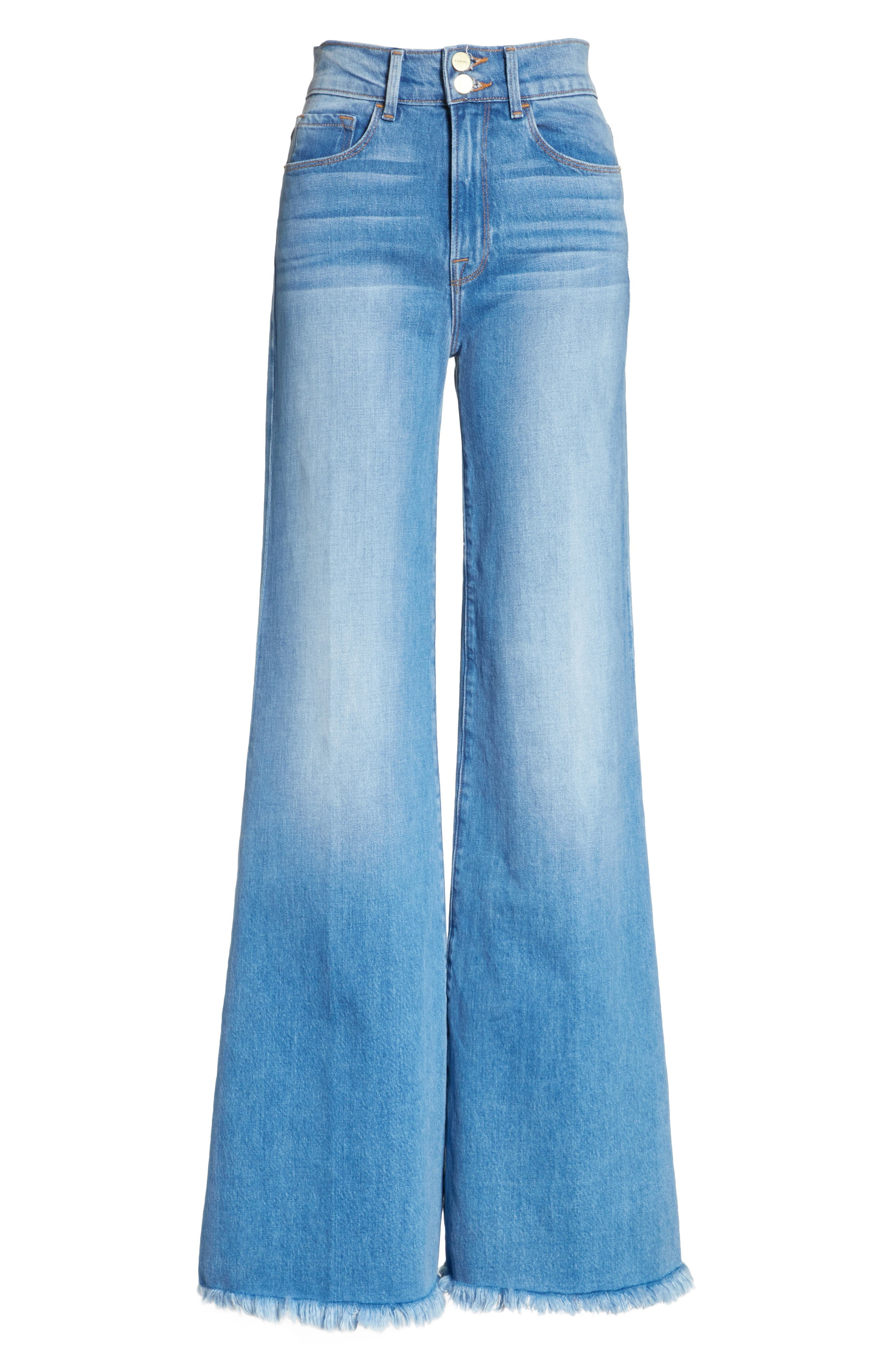 Le Palazzo High Waist Raw Edge Jeans,                             Alternate thumbnail 7, color,                             Opus