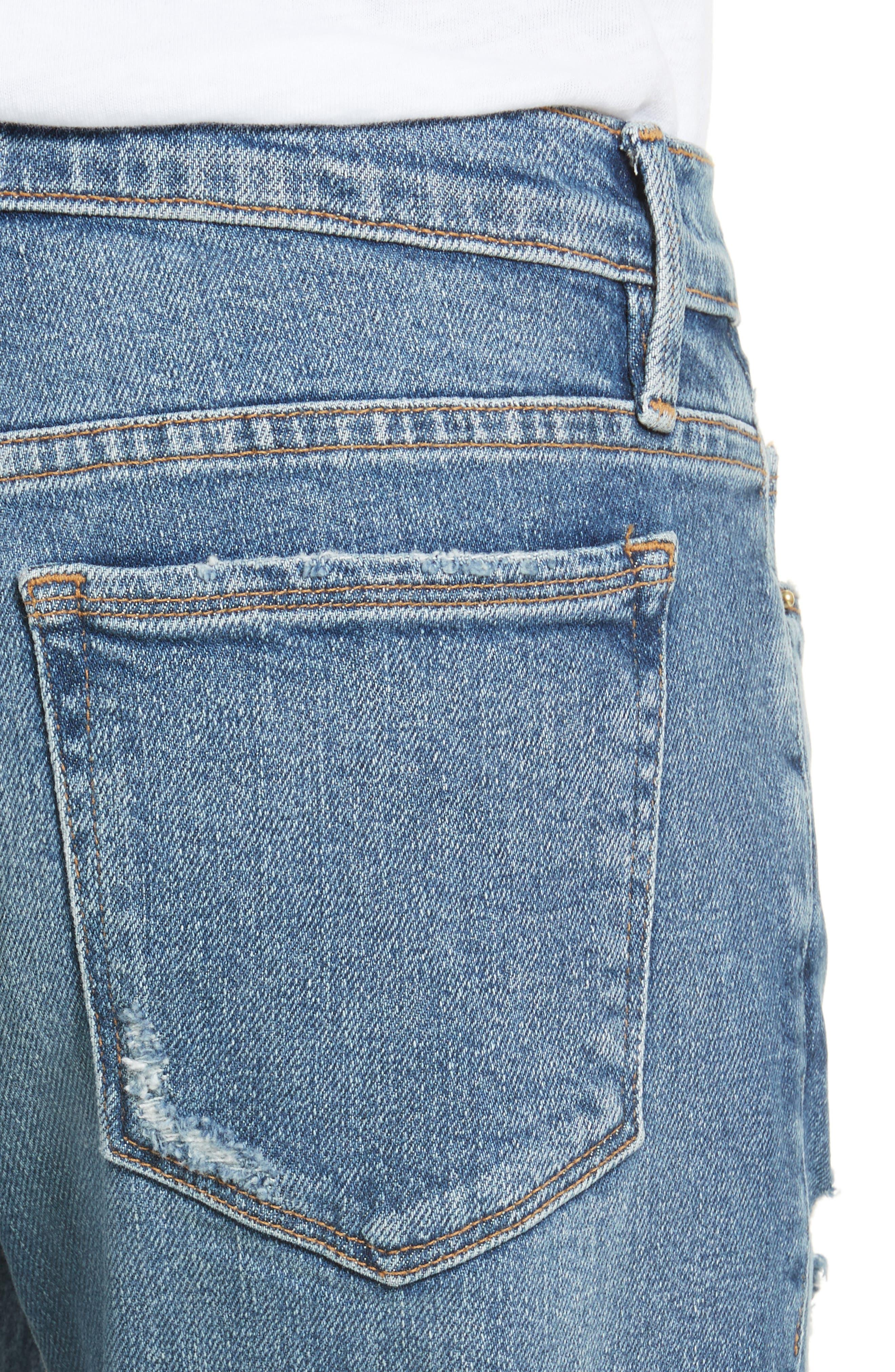Nouveau Le Straight Raw Hem Jeans,                             Alternate thumbnail 4, color,                             Sackett