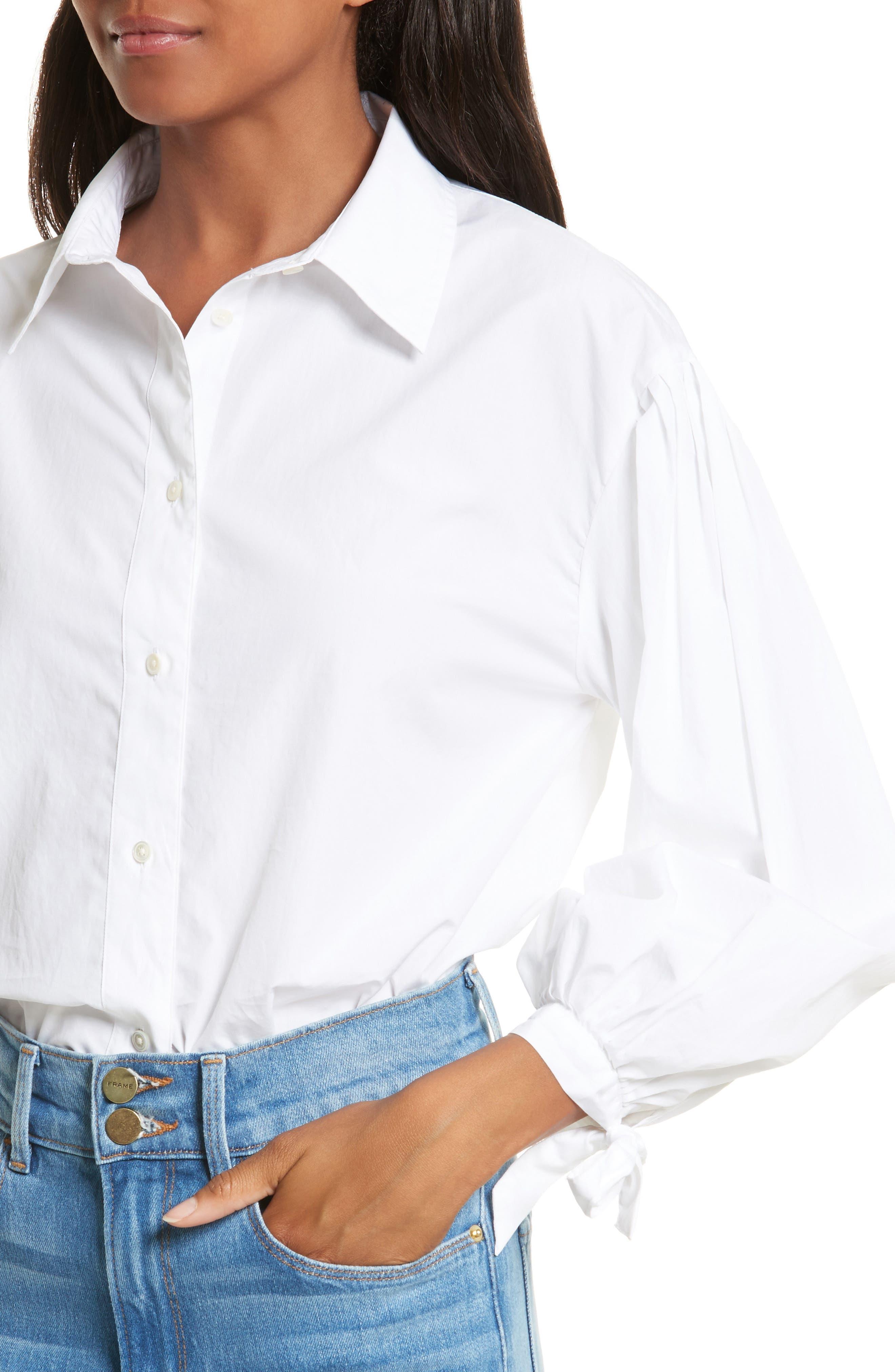 Tie Cuff Cotton Shirt,                             Alternate thumbnail 4, color,                             Blanc