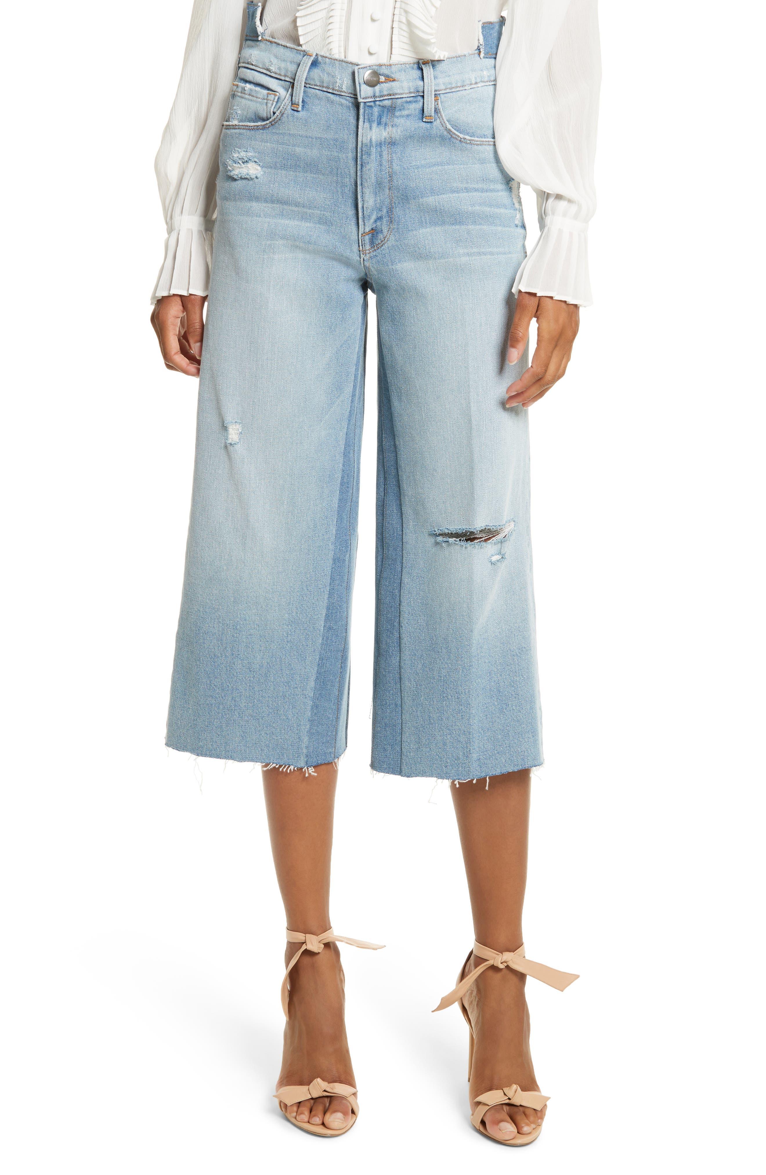 Le Reconstructed High Waist Crop Wide Leg Jeans,                         Main,                         color, Blue