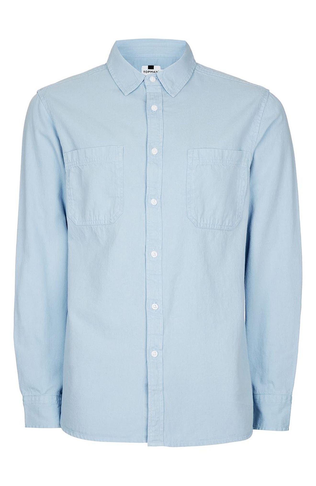 Alternate Image 6  - Topman Washed Twill Shirt
