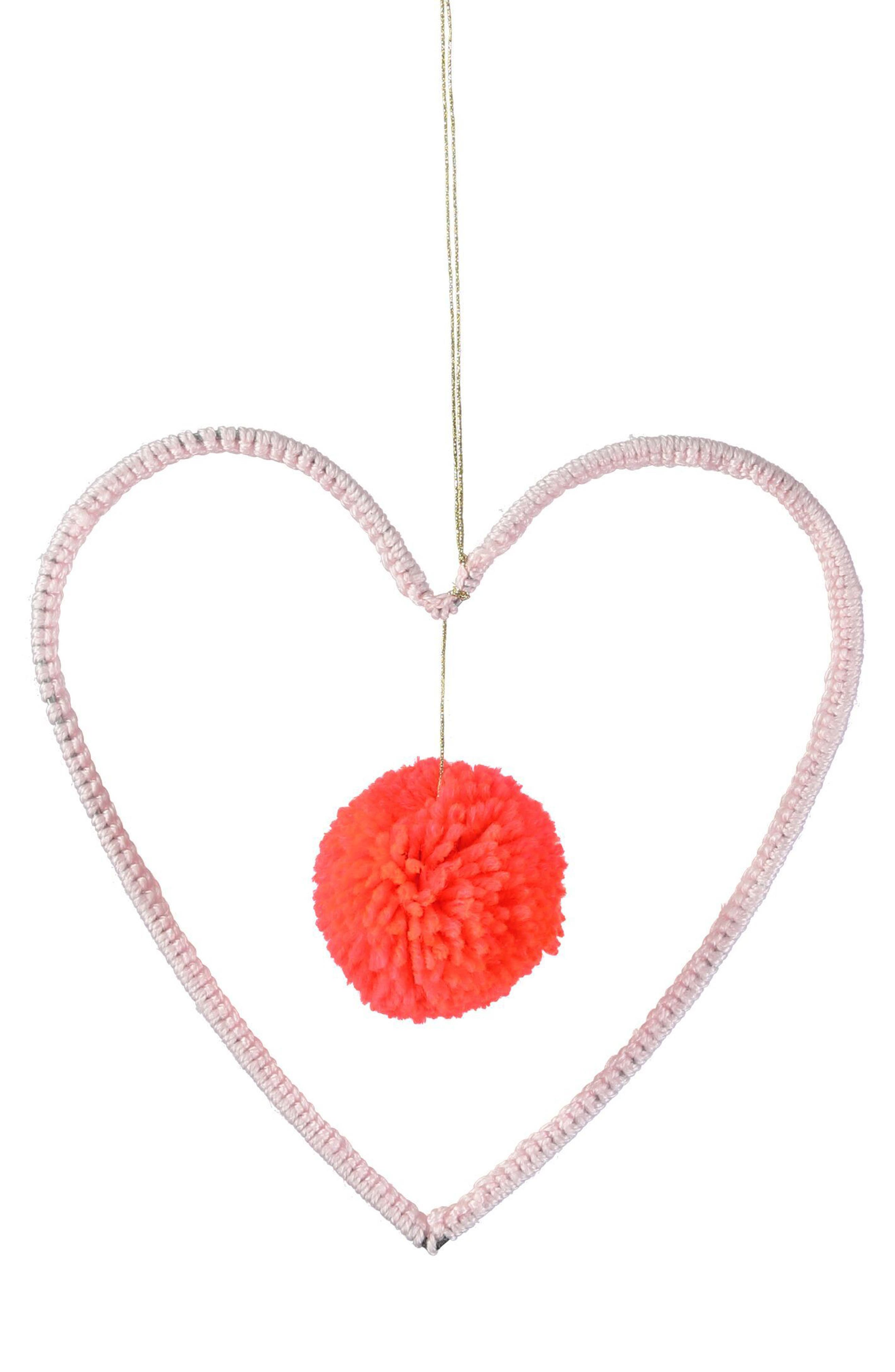 Hanging Heart & Pom Wall Art,                         Main,                         color, Pink Multi