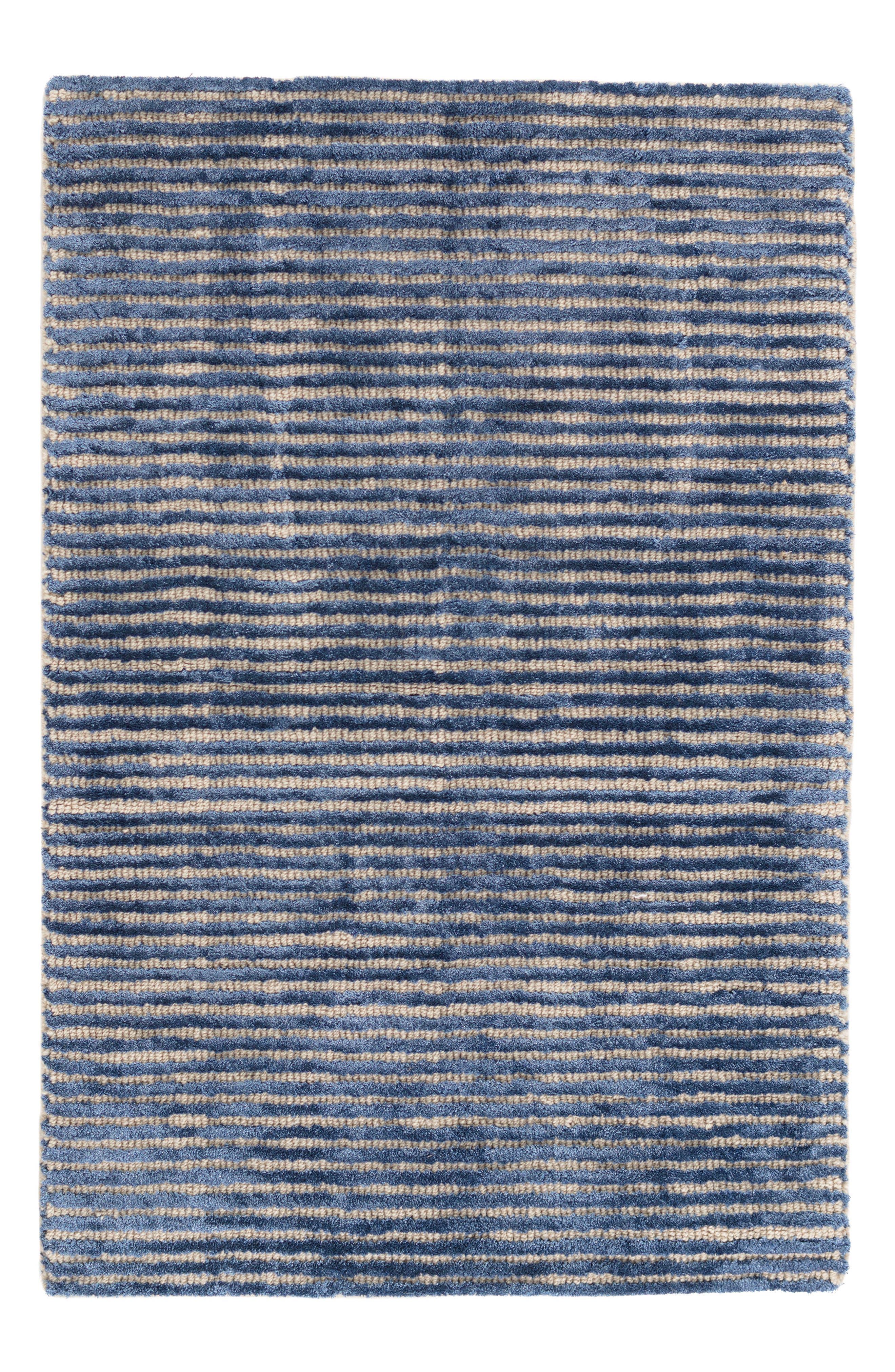 Stripe Hand Knotted Rug,                         Main,                         color, Indigo