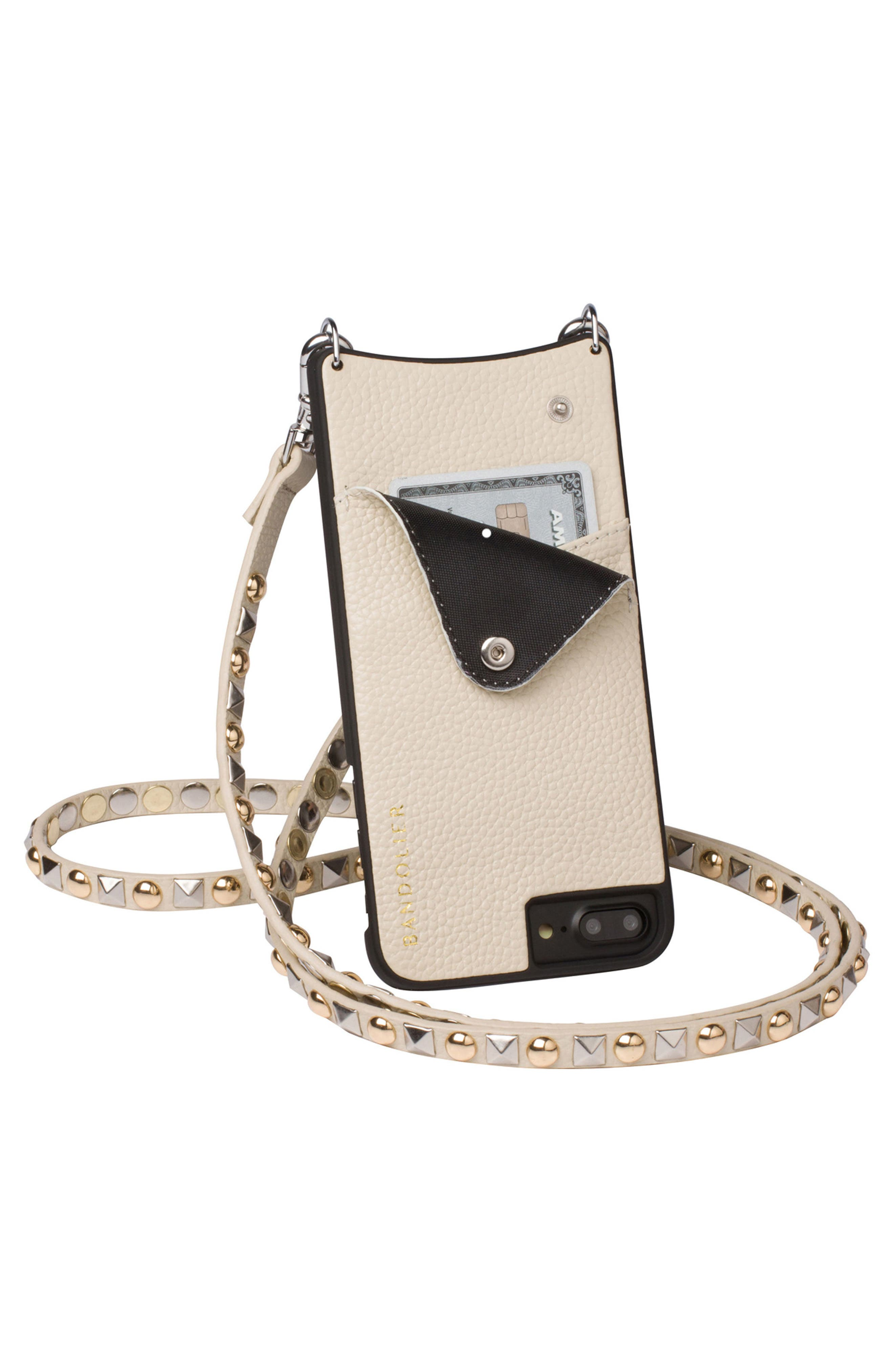 Stella iPhone 6/7/8 & 6/7/8 Plus Leather Crossbody Case,                             Alternate thumbnail 6, color,                             Pebble/ Gold/ Silver