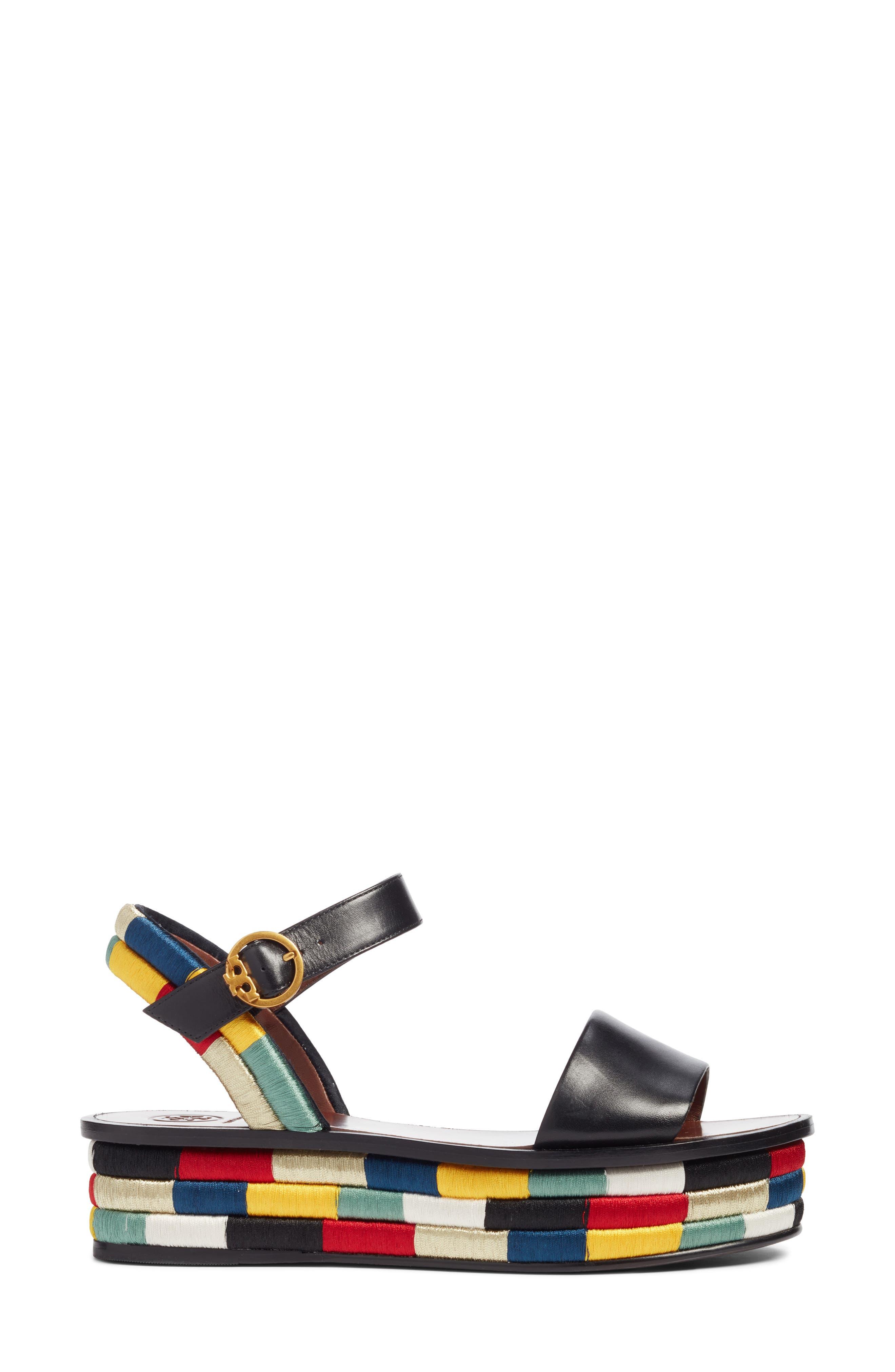 Camilla Platform Sandal,                             Alternate thumbnail 4, color,                             Black