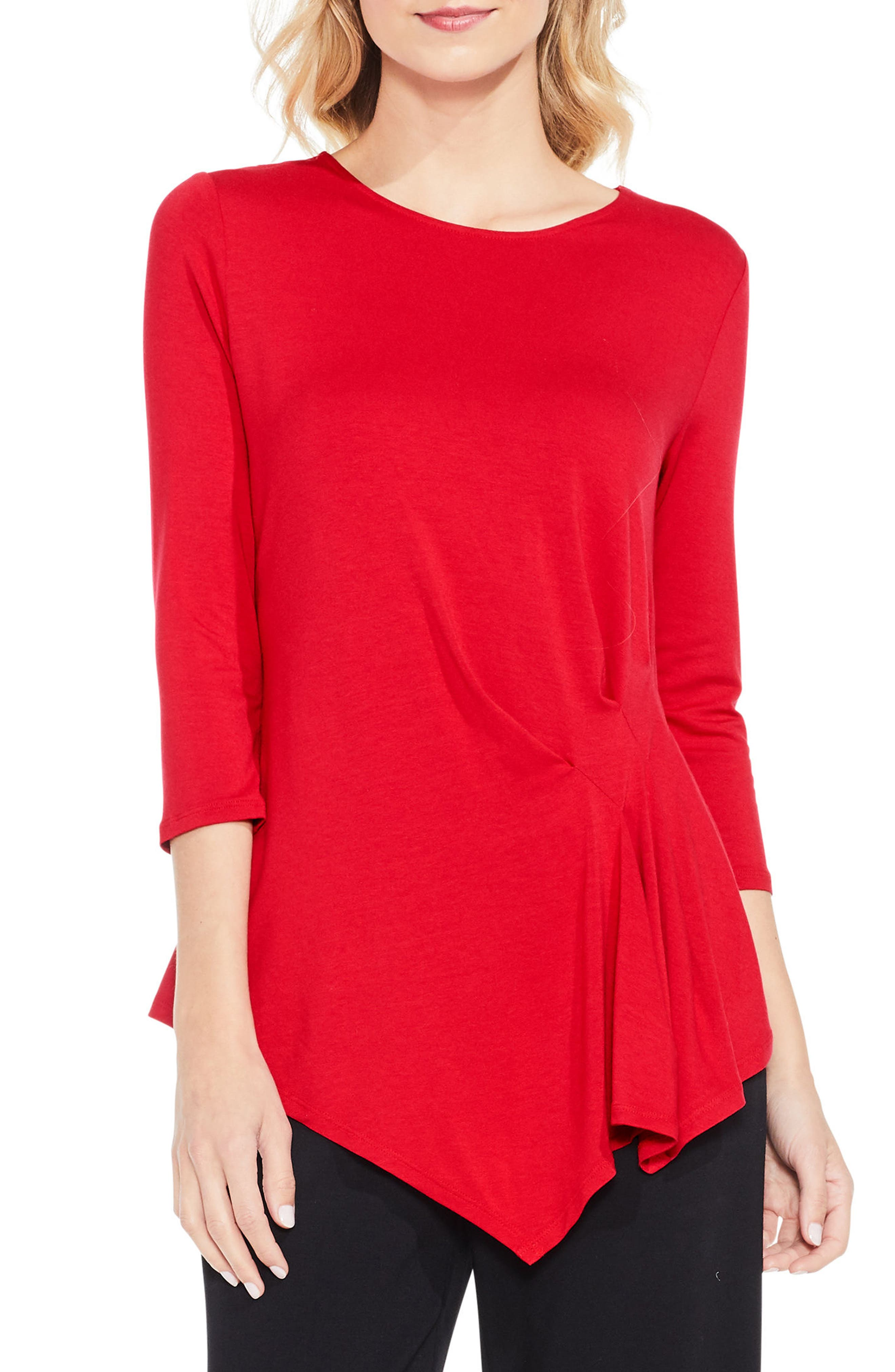 Alternate Image 1 Selected - Vince Camuto Side Pleat Asymmetrical Top