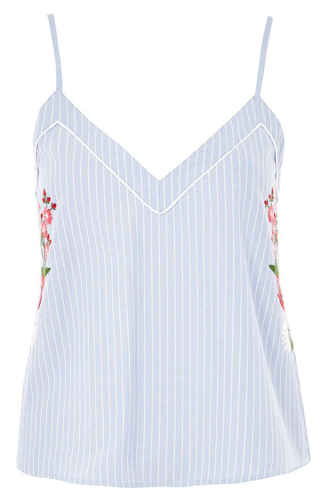 Floral Embroidered Stripe Camisole,                             Alternate thumbnail 3, color,                             Blue Multi