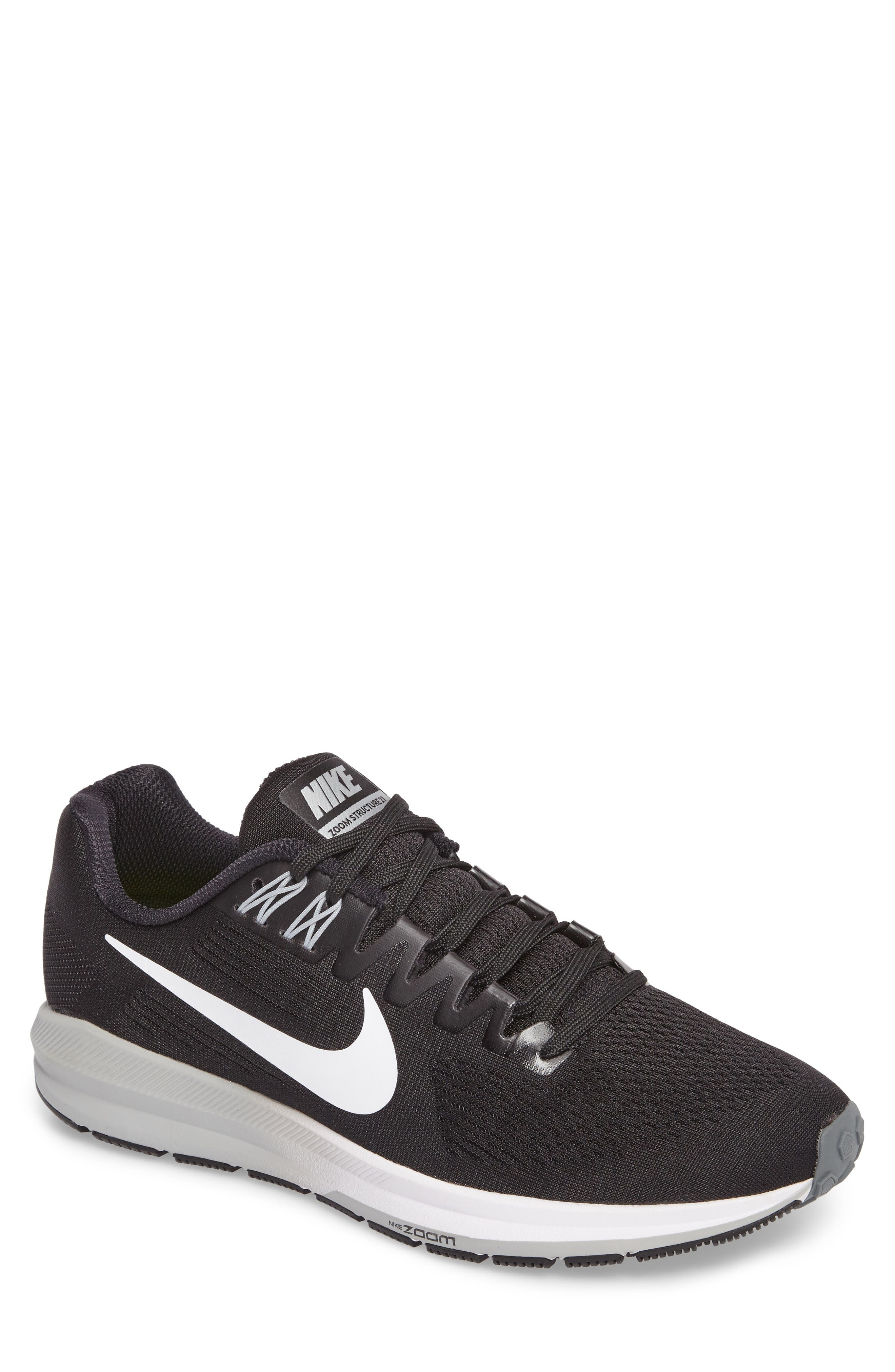 Air Zoom Structure 21 Running Shoe,                         Main,                         color, Black/White/Wolf Grey