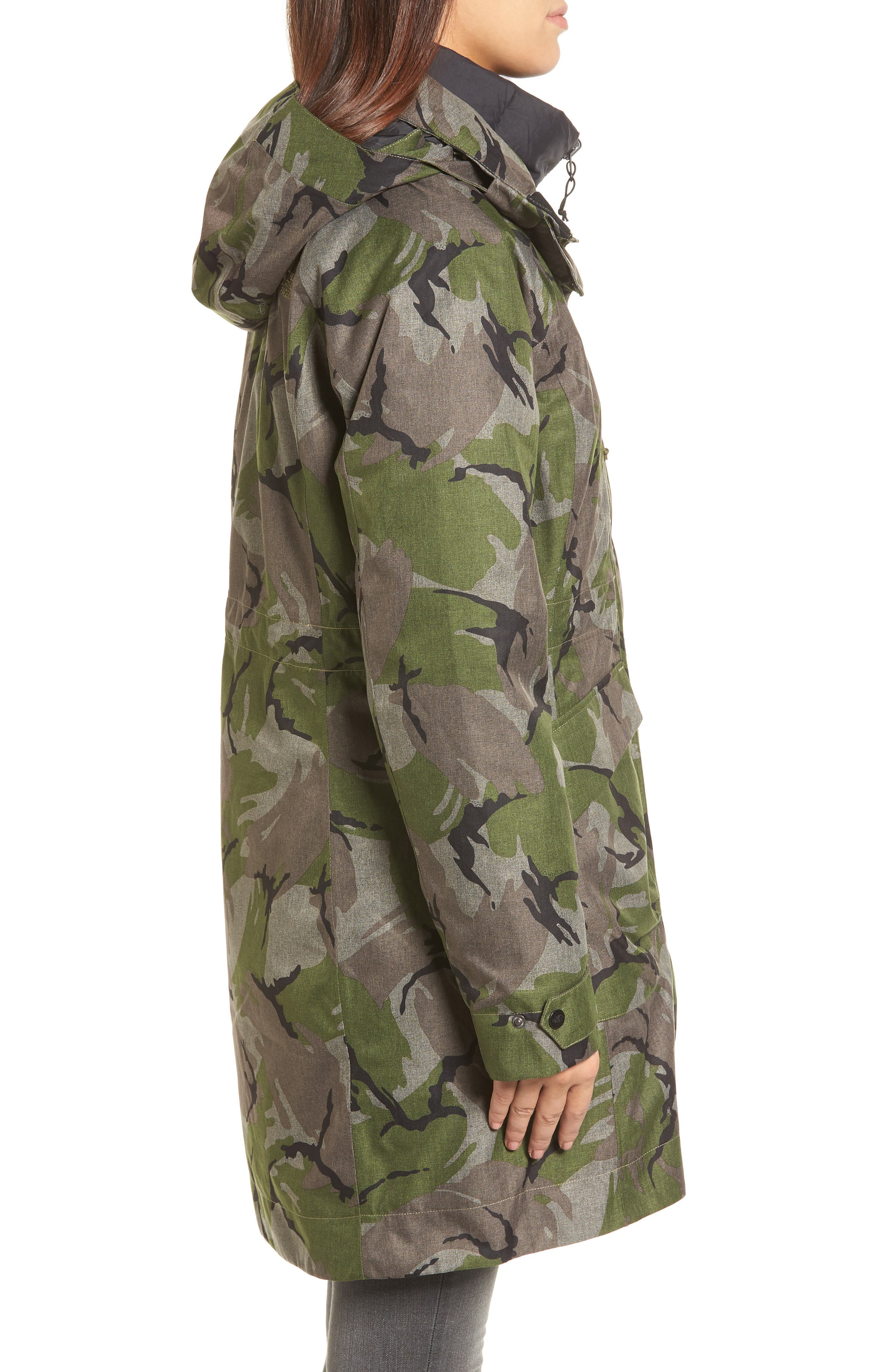 Outer Boroughs 3-in-1 TriClimate<sup>®</sup> Waterproof Jacket with Faux Fur Trim,                             Alternate thumbnail 3, color,                             Burnt Olive Green Disrupt Camo