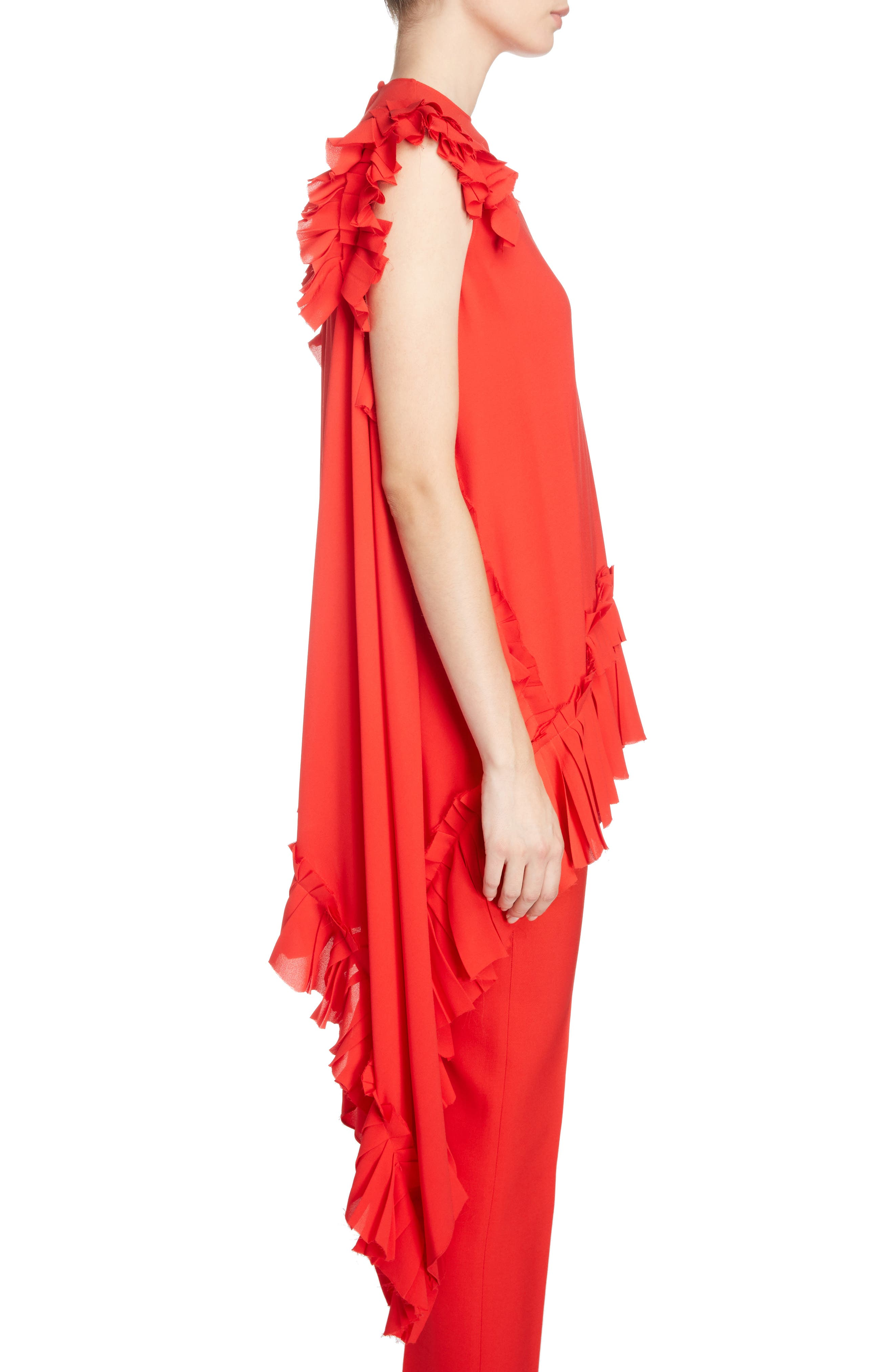 Asymmetrical Ruffle Trim Silk Georgette Top,                             Alternate thumbnail 3, color,                             Lust Red