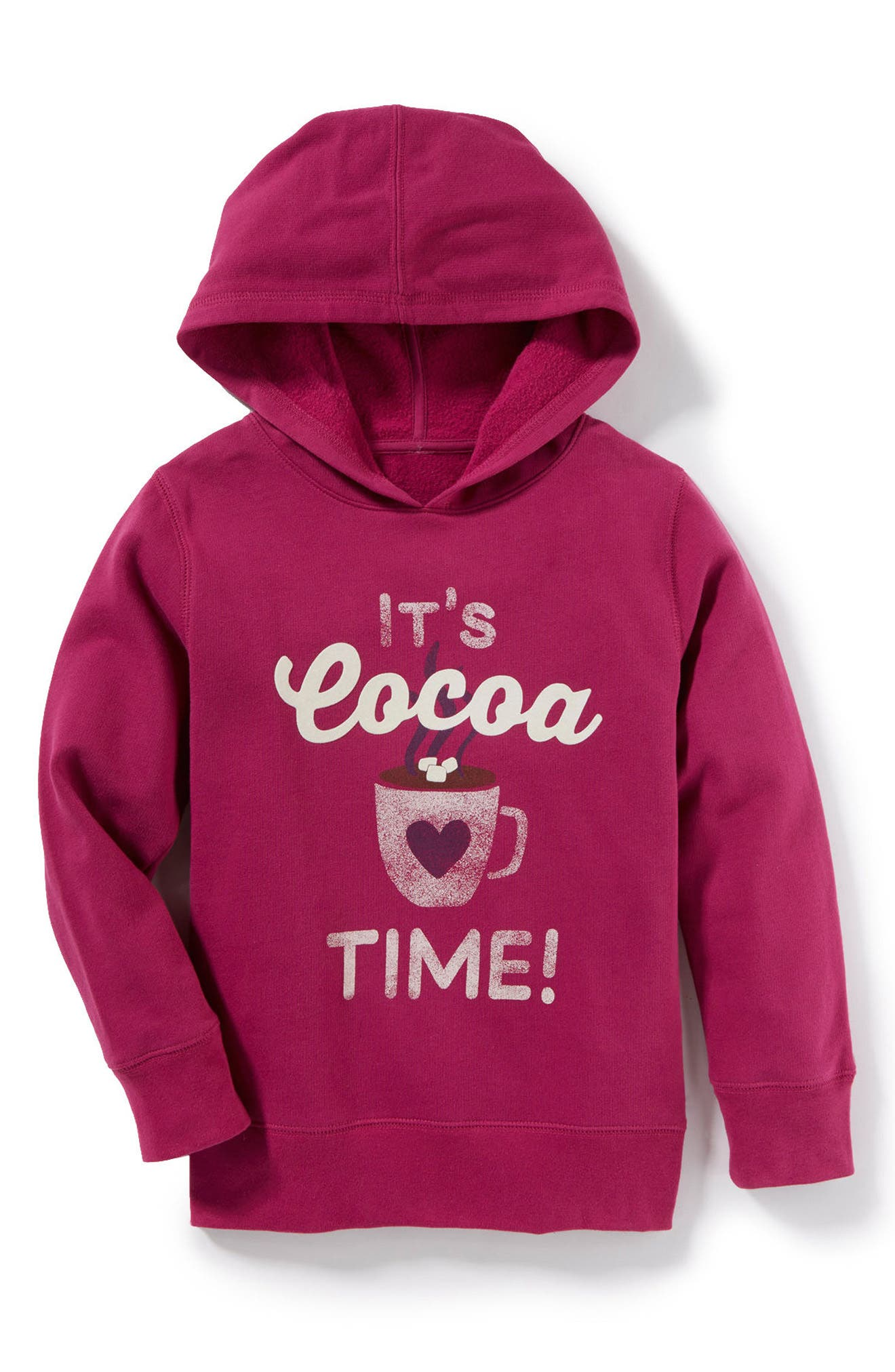 Main Image - Peek It's Cocoa Time Graphic Hoodie (Toddler Girls, Little Girls & Big Girls)