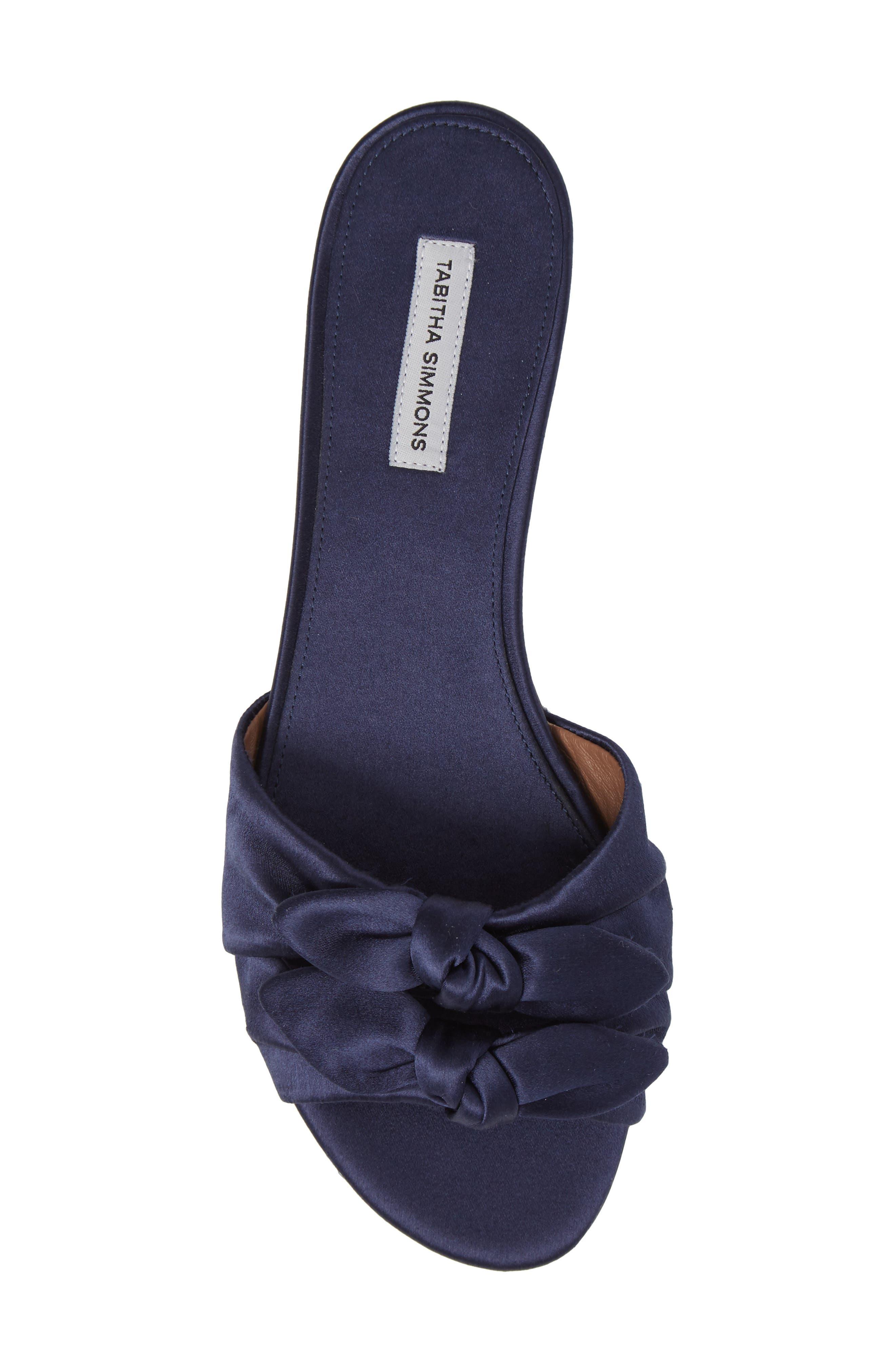 Cleo Knotted Bow Slide Sandal,                             Alternate thumbnail 5, color,                             Navy