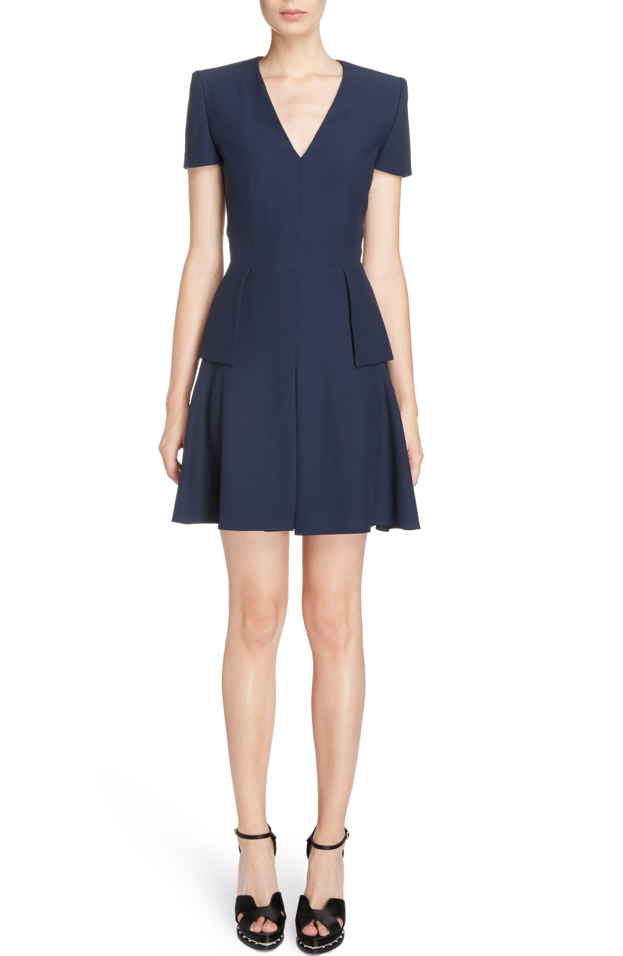 Alexander McQueen Leaf Crepe Fit & Flare Dress