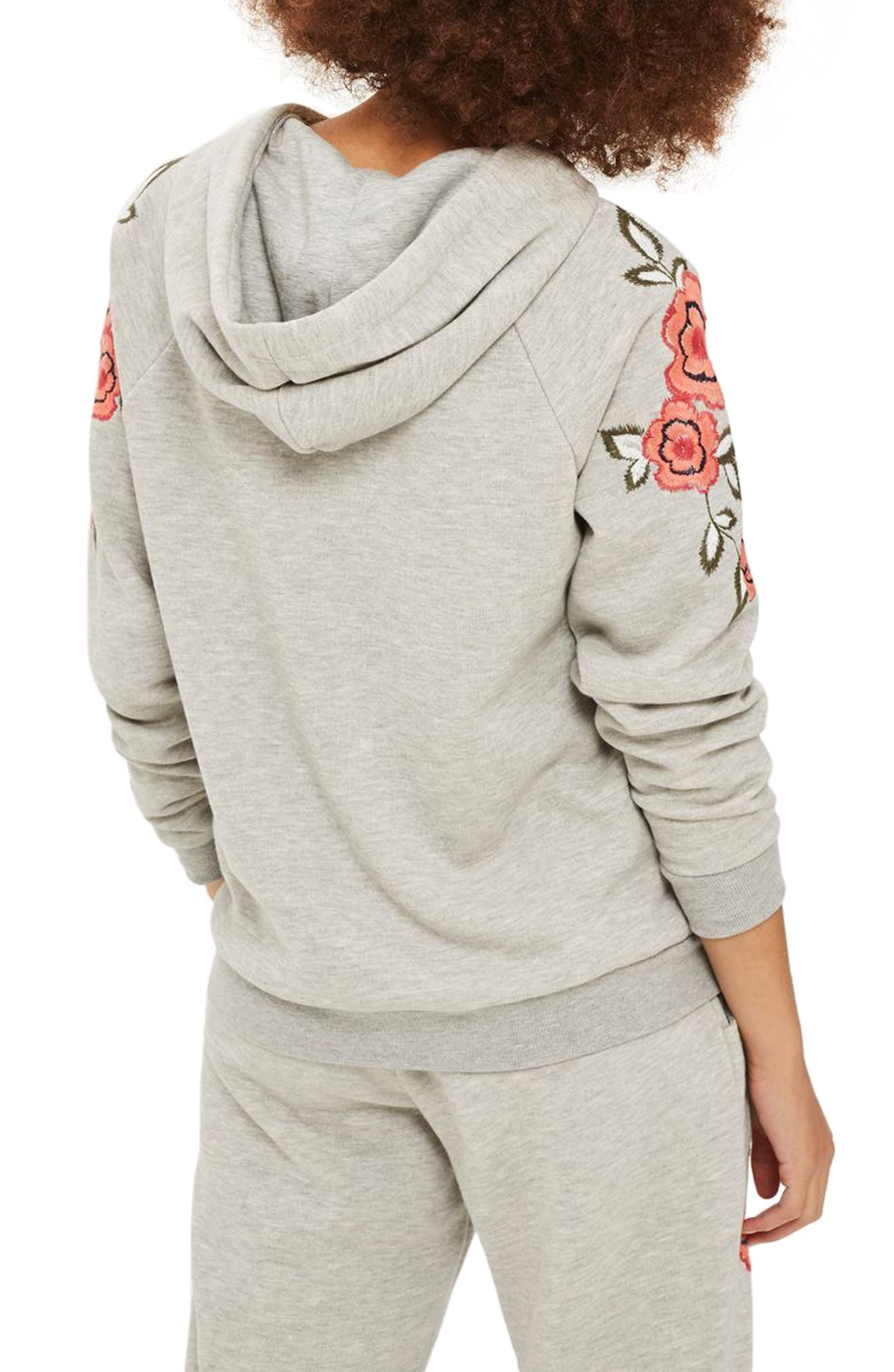 Floral Embroidered Hoodie,                             Alternate thumbnail 2, color,                             Grey Multi
