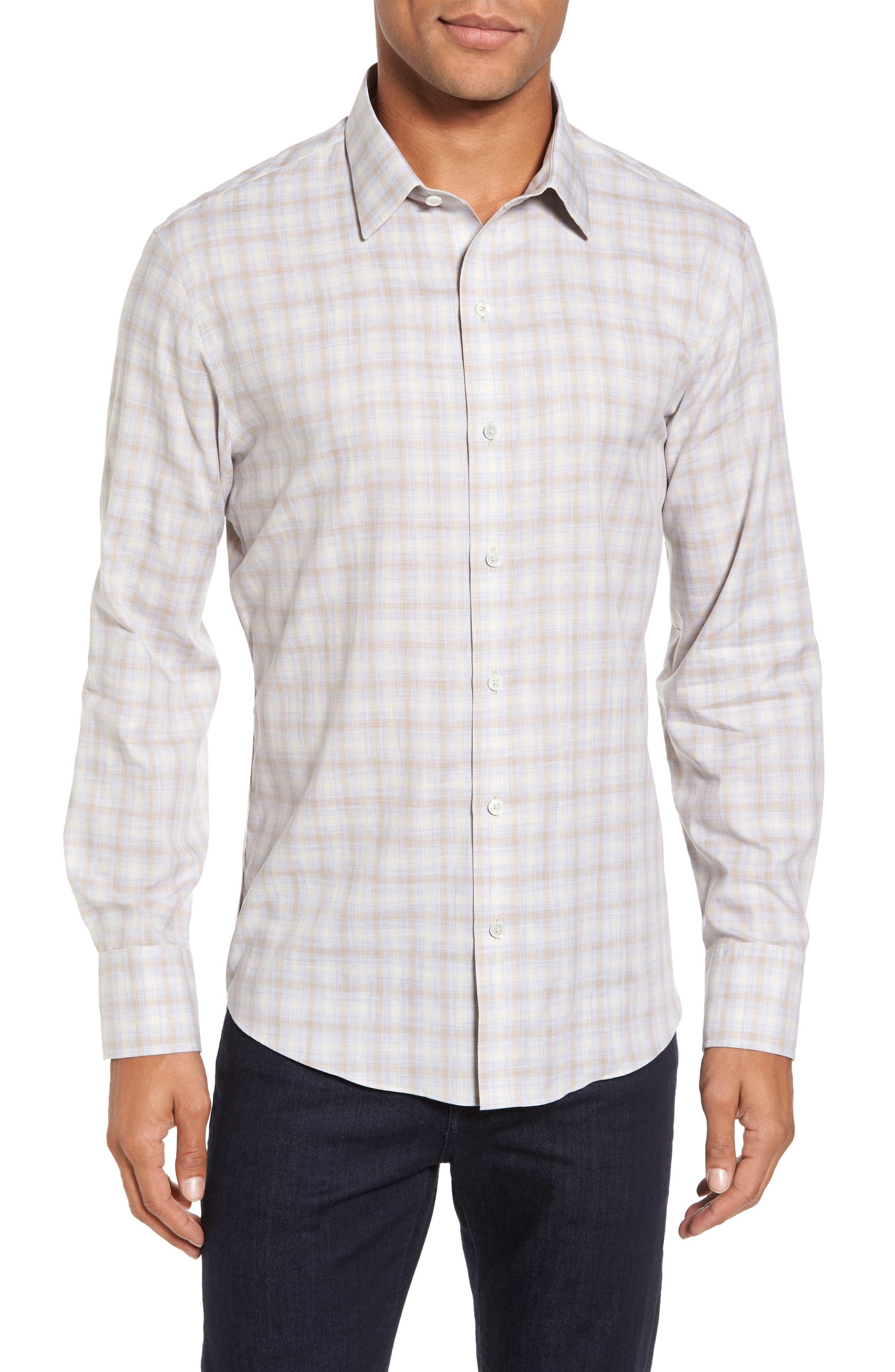 Lowles Slim Fit Plaid Sport Shirt,                         Main,                         color, Stone