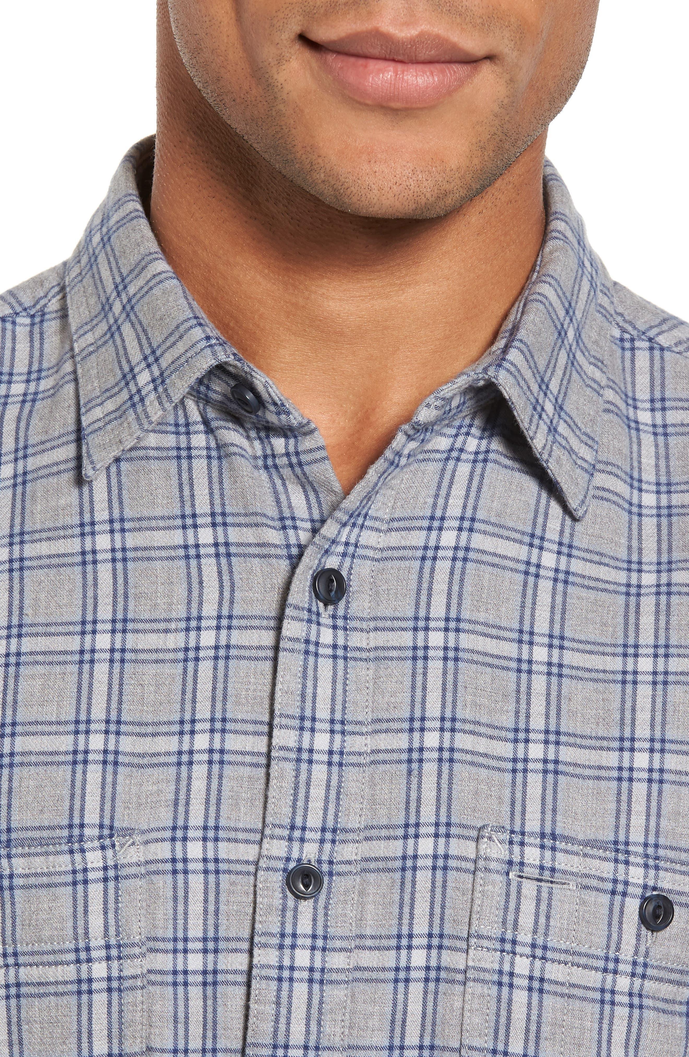 Workwear Duofold Check Sport Shirt,                             Alternate thumbnail 4, color,                             Navy Iris Grey Plaid Duofold