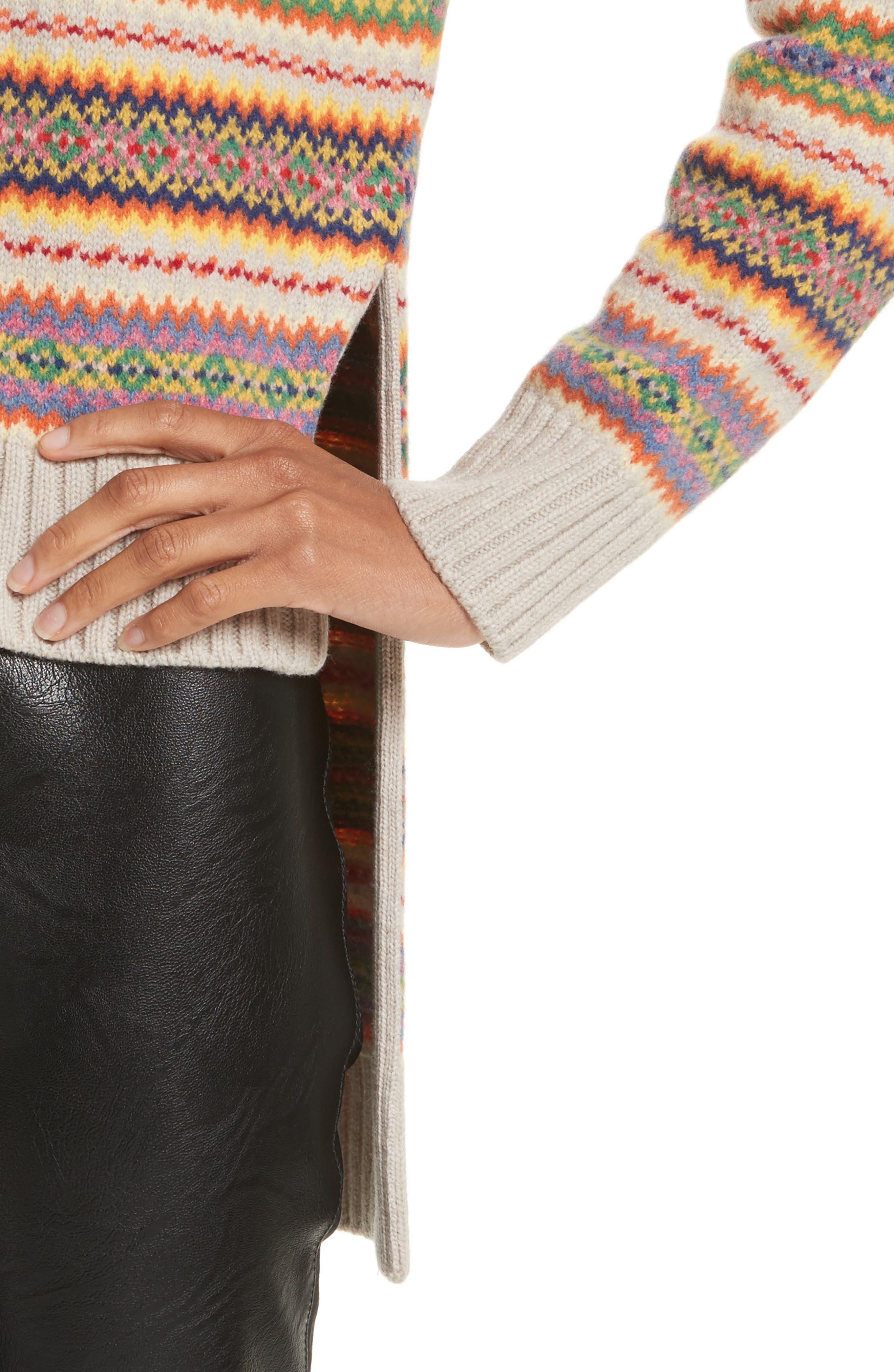 Shetland Wool Fair Isle Sweater,                             Alternate thumbnail 4, color,                             Multicolor