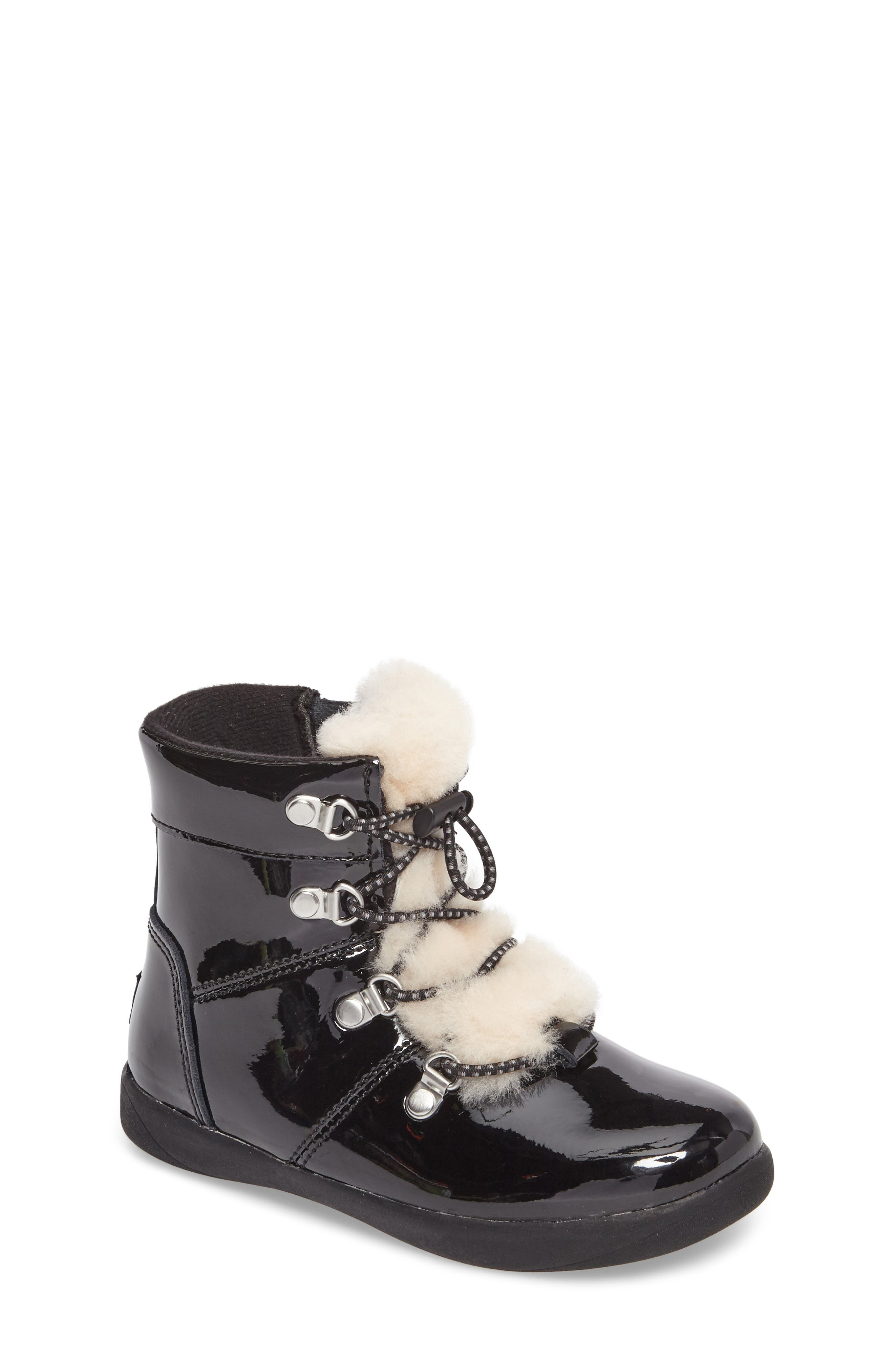 UGG® T Ager Genuine Shearling Polished Bootie (Walker & Toddler)