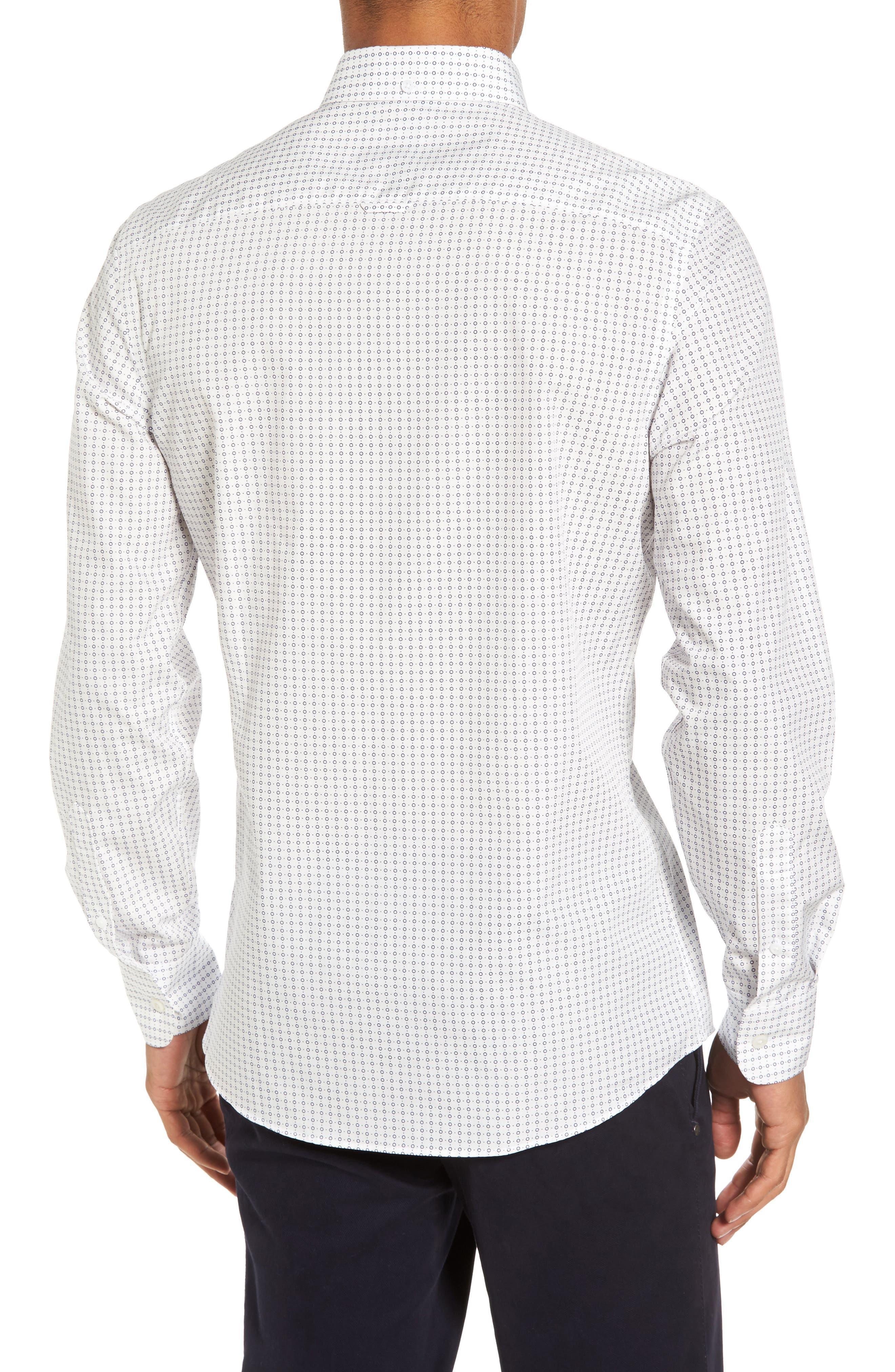 Trim Fit Non-Iron Circle Print Sport Shirt,                             Alternate thumbnail 2, color,                             Ivory Egret Circle Print