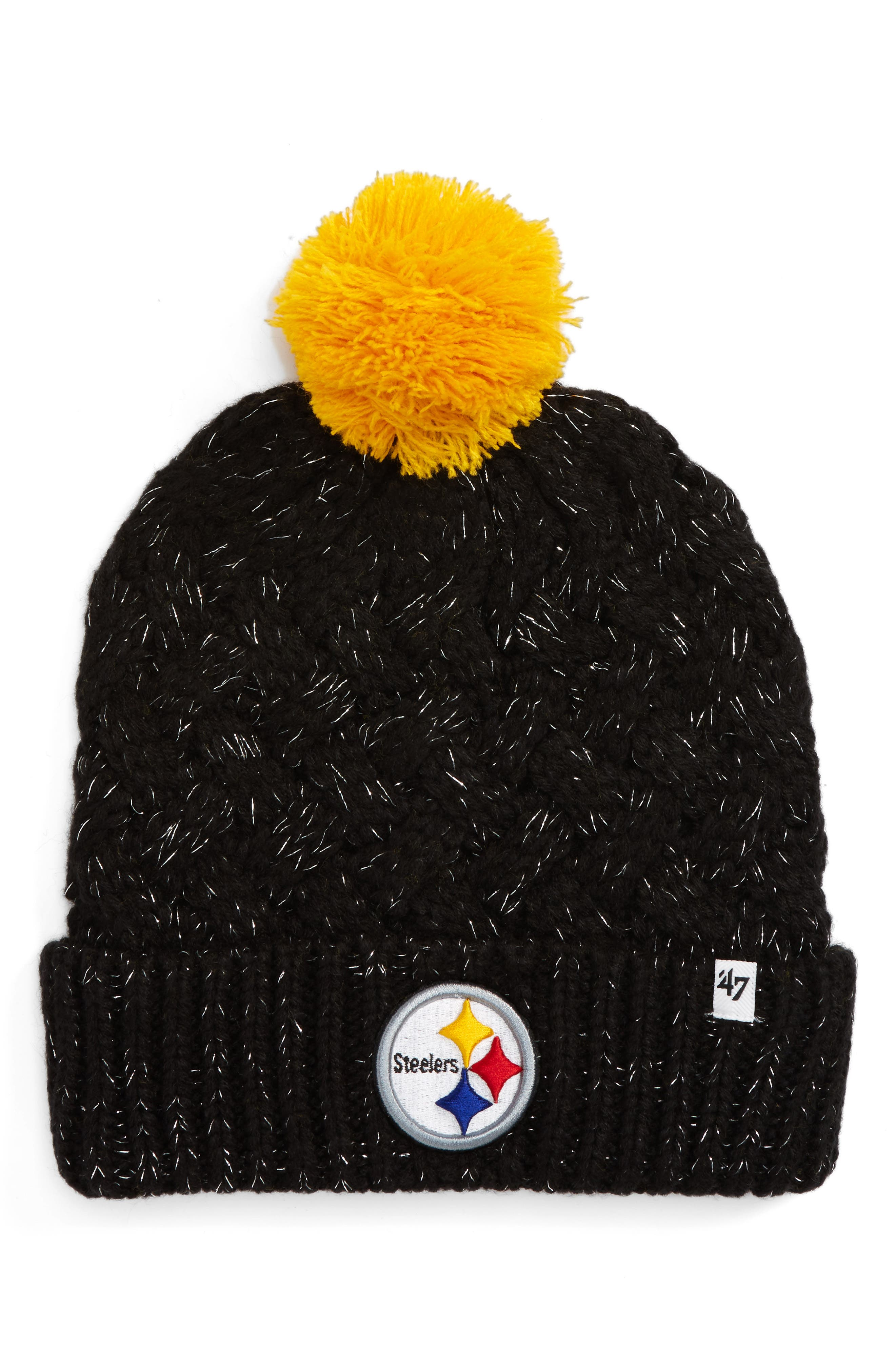 Fiona Pittsburgh Steelers Pom Beanie,                         Main,                         color, Black