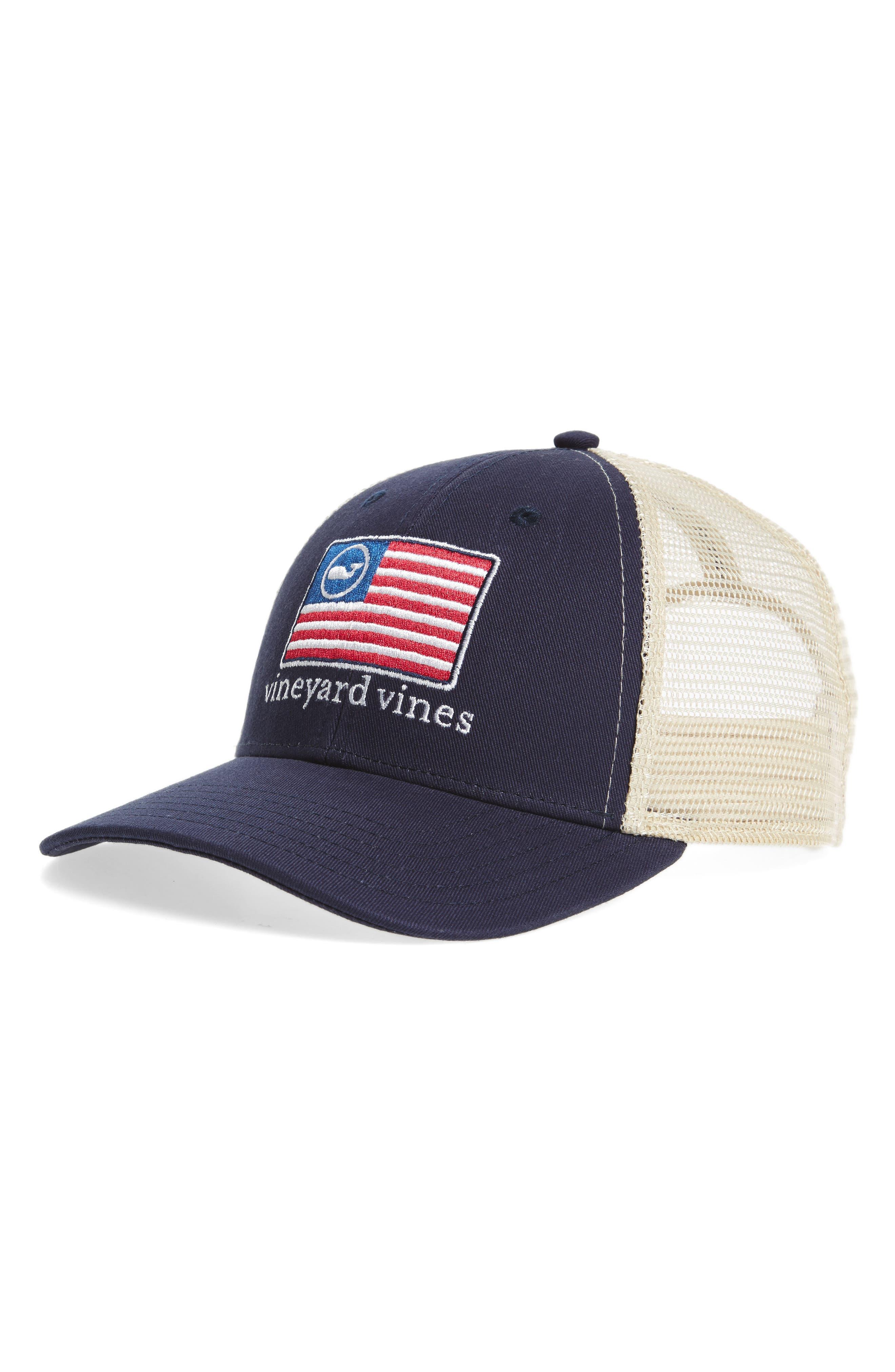 Whale Flag Line Trucker Cap,                         Main,                         color, Vineyard N