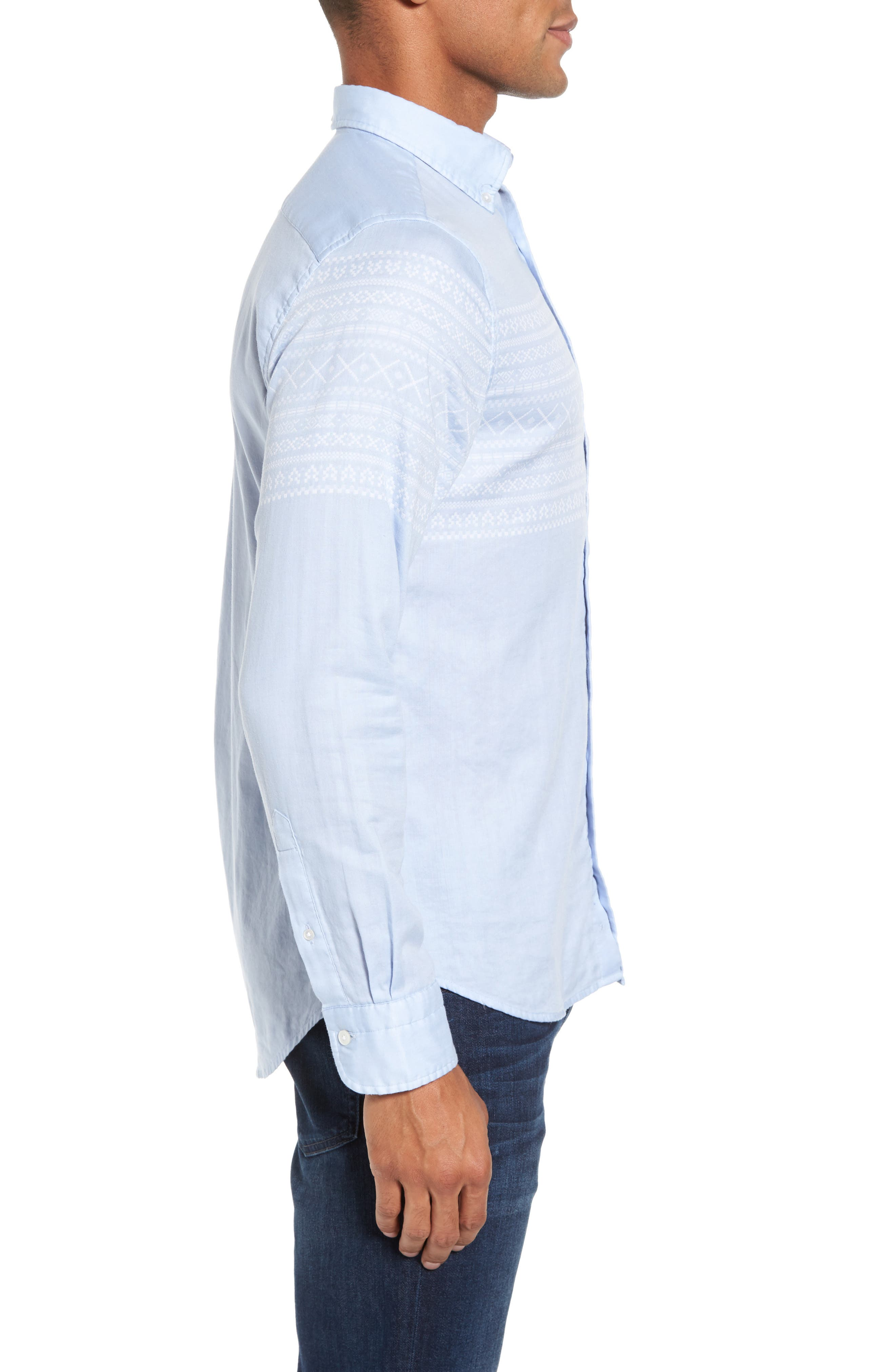 02 Extra Slim Fit Fair Isle Print Sport Shirt,                             Alternate thumbnail 3, color,                             Hamptons Blue