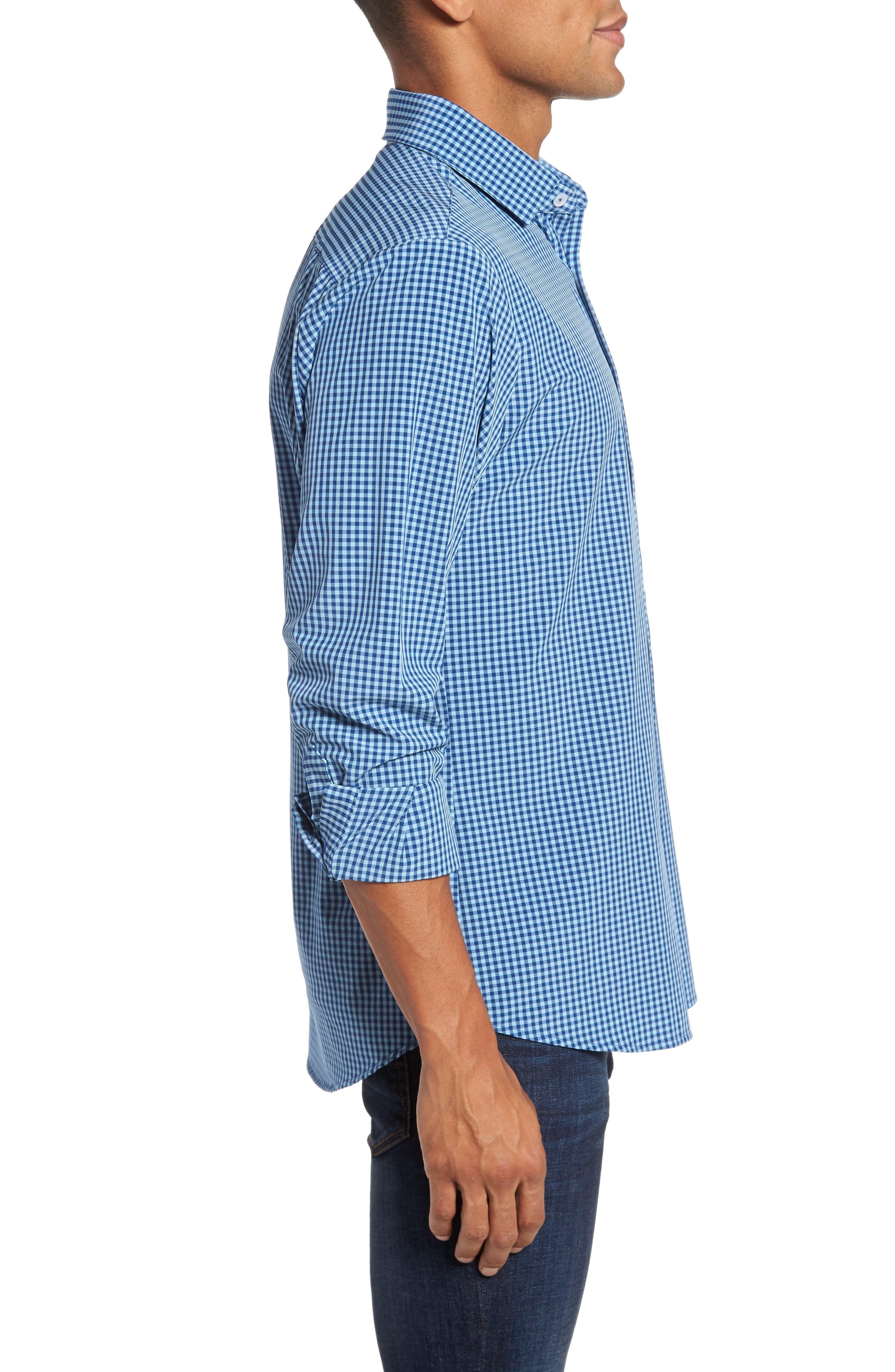 Brighton Blue Check Sport Shirt,                             Alternate thumbnail 4, color,                             Blue
