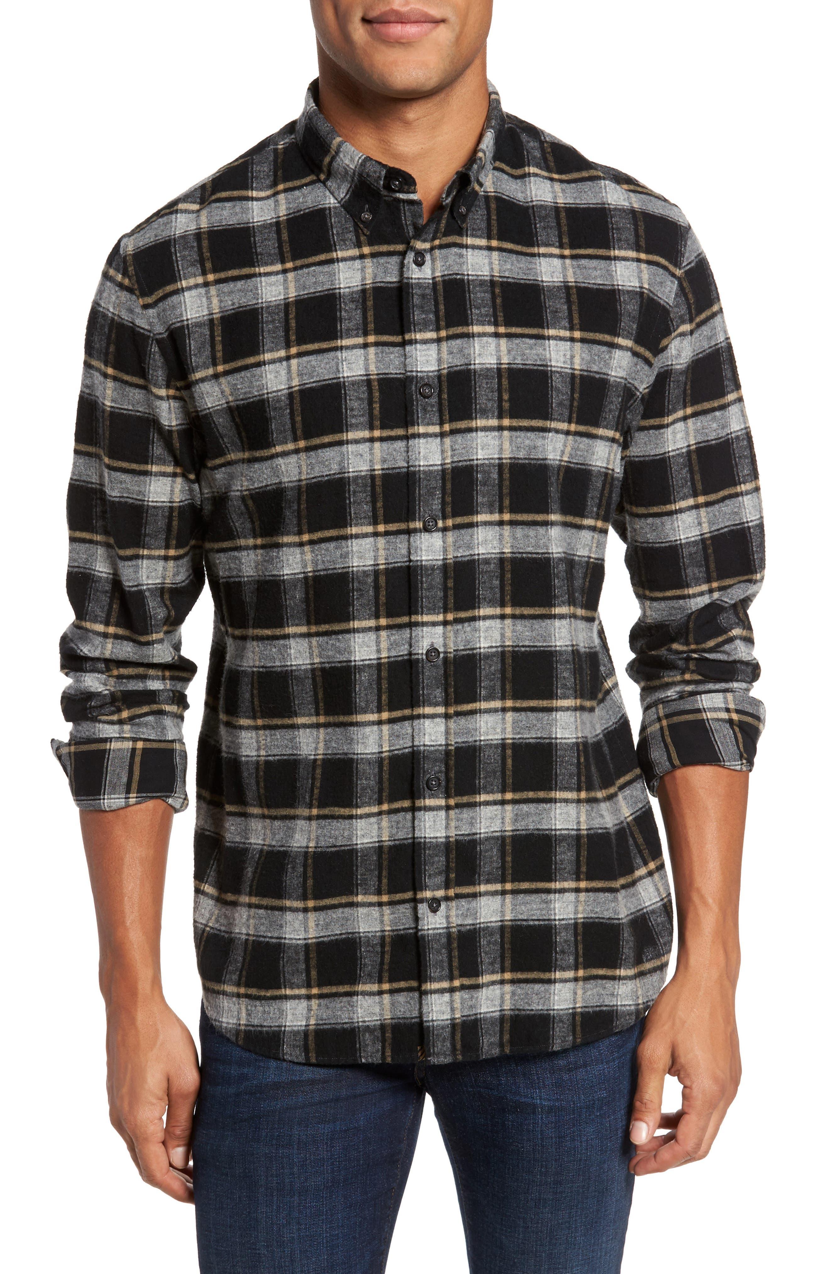 Murphy Slim Fit Check Sport Shirt,                         Main,                         color, Black/ Grey