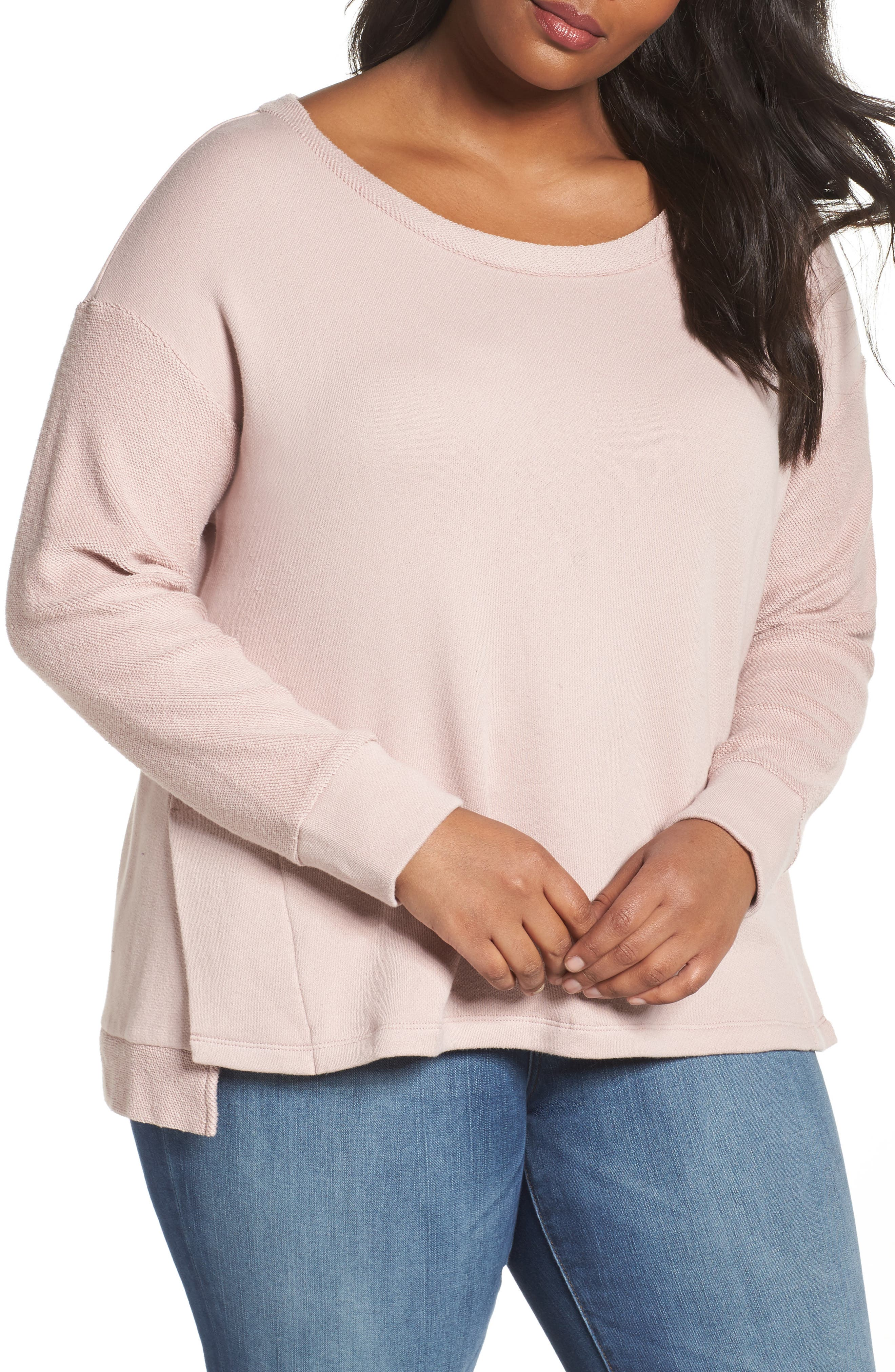 Relaxed Sweatshirt,                         Main,                         color, Pink Adobe