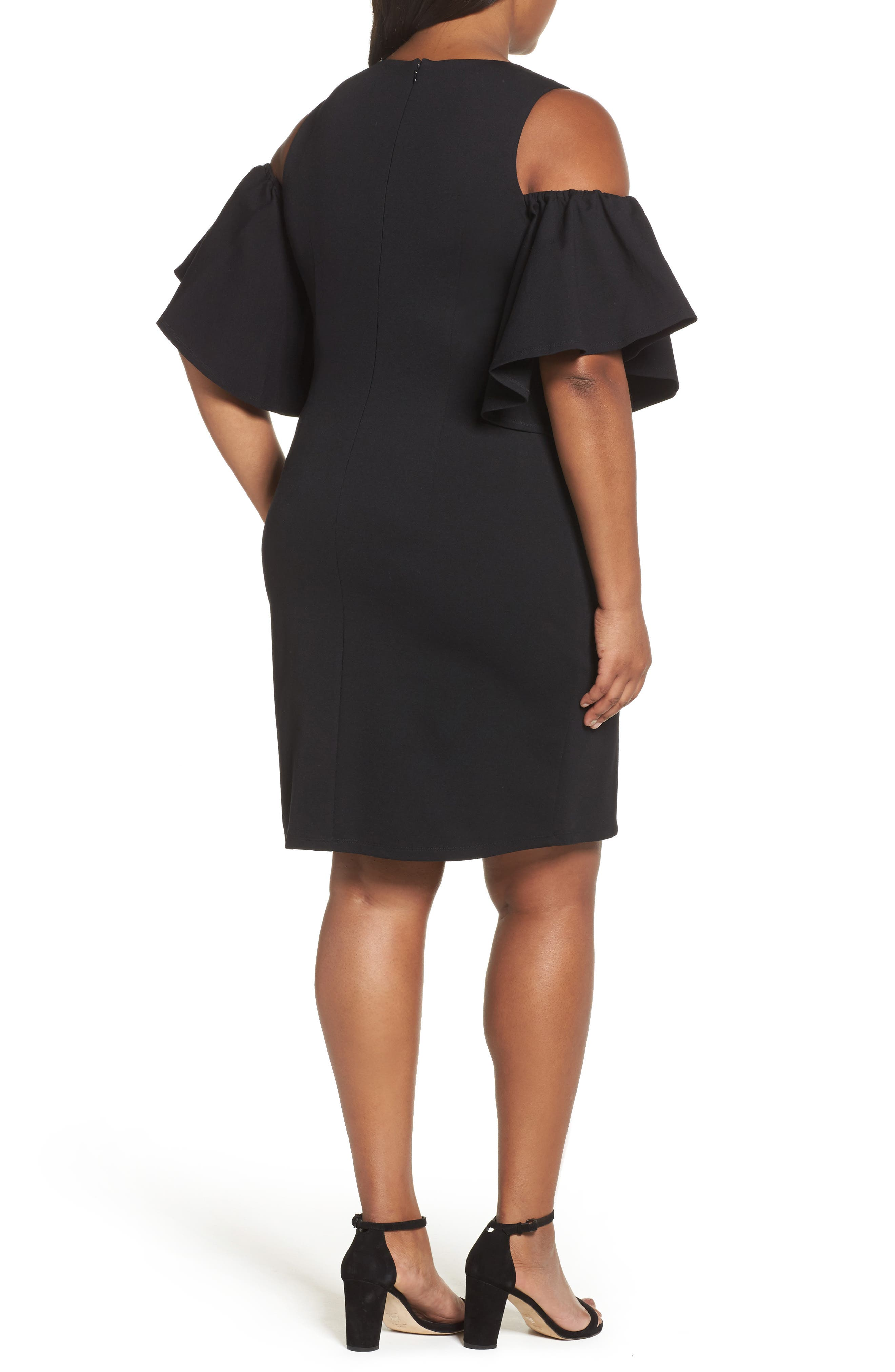 Alternate Image 2  - Eliza J Cold Shoulder Sheath Dress (Plus Size)