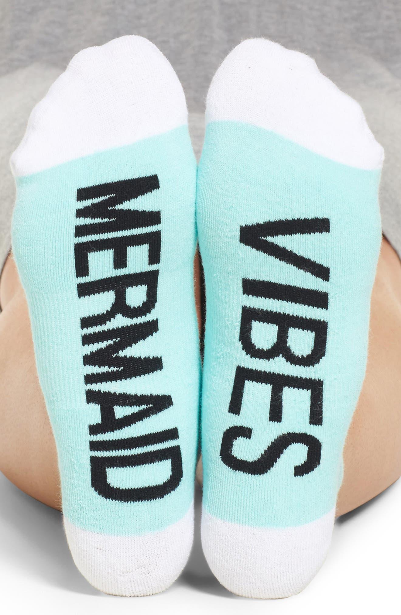 Mermaid Vibes Ankle Socks,                             Main thumbnail 1, color,                             Mint