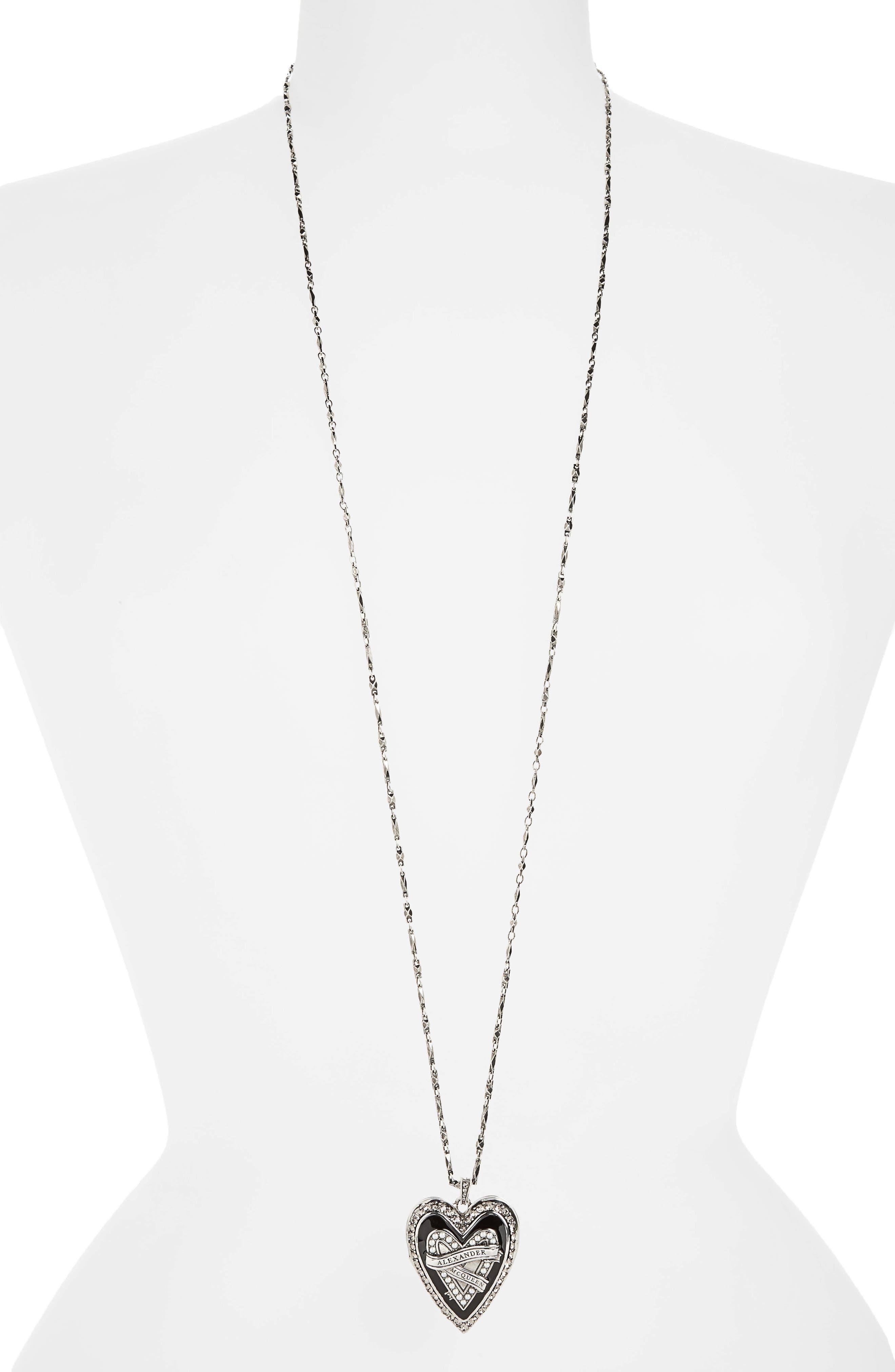 Heart Pendant Necklace,                         Main,                         color, Antique Silver/ Jet