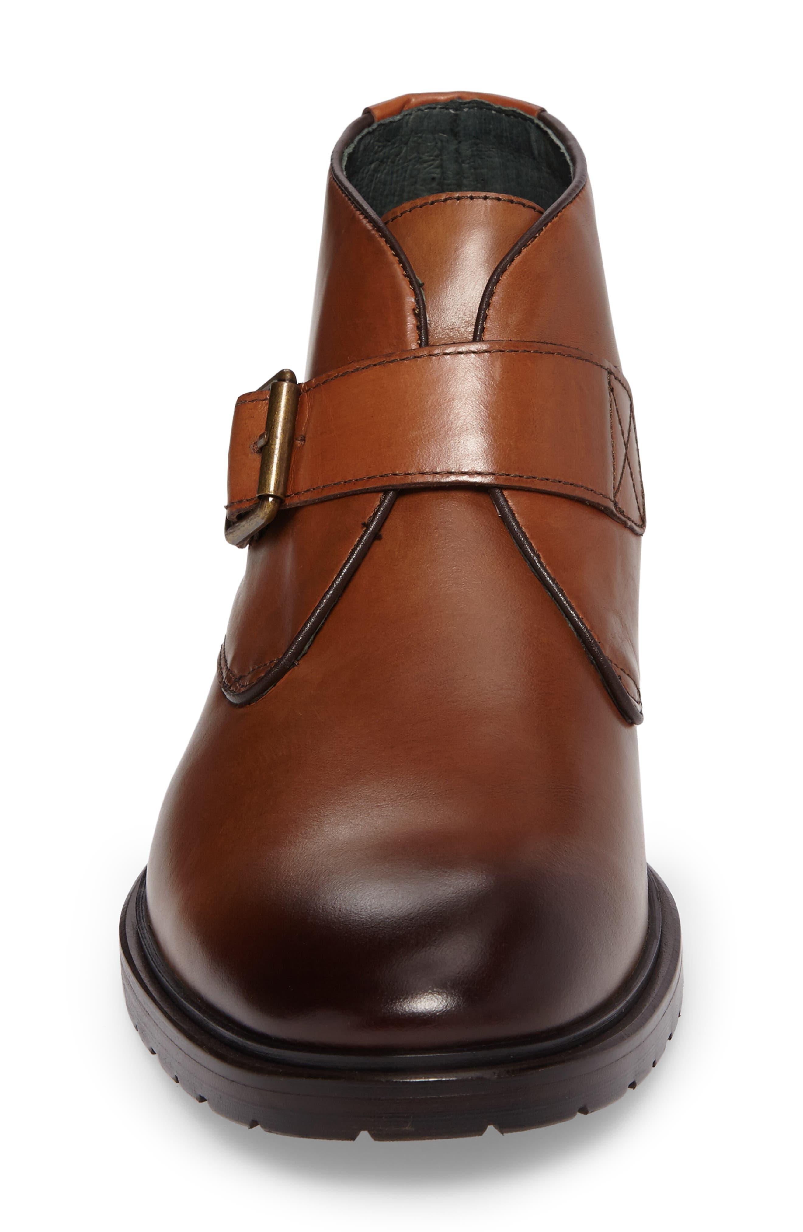 Myles Monk Strap Boot,                             Alternate thumbnail 4, color,                             Cognac Leather