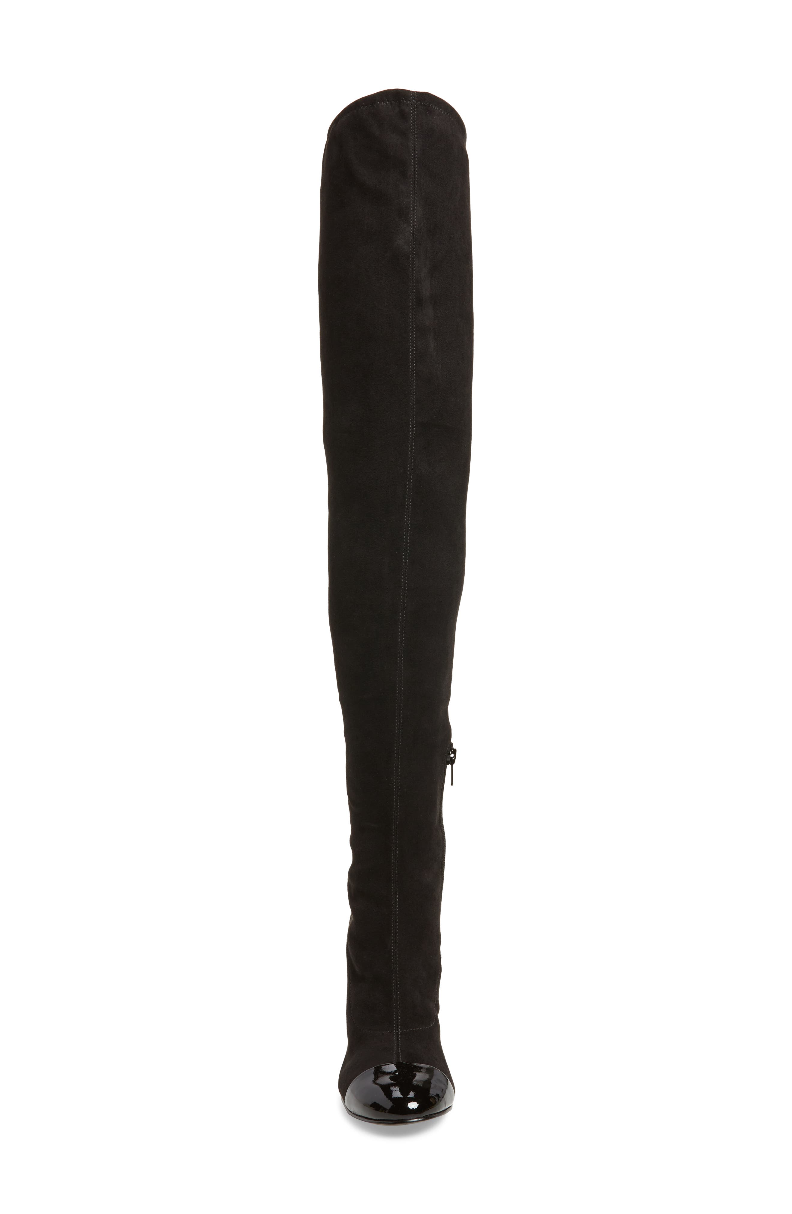 Petel Over the Knee Boot,                             Alternate thumbnail 4, color,                             Black Faux Suede