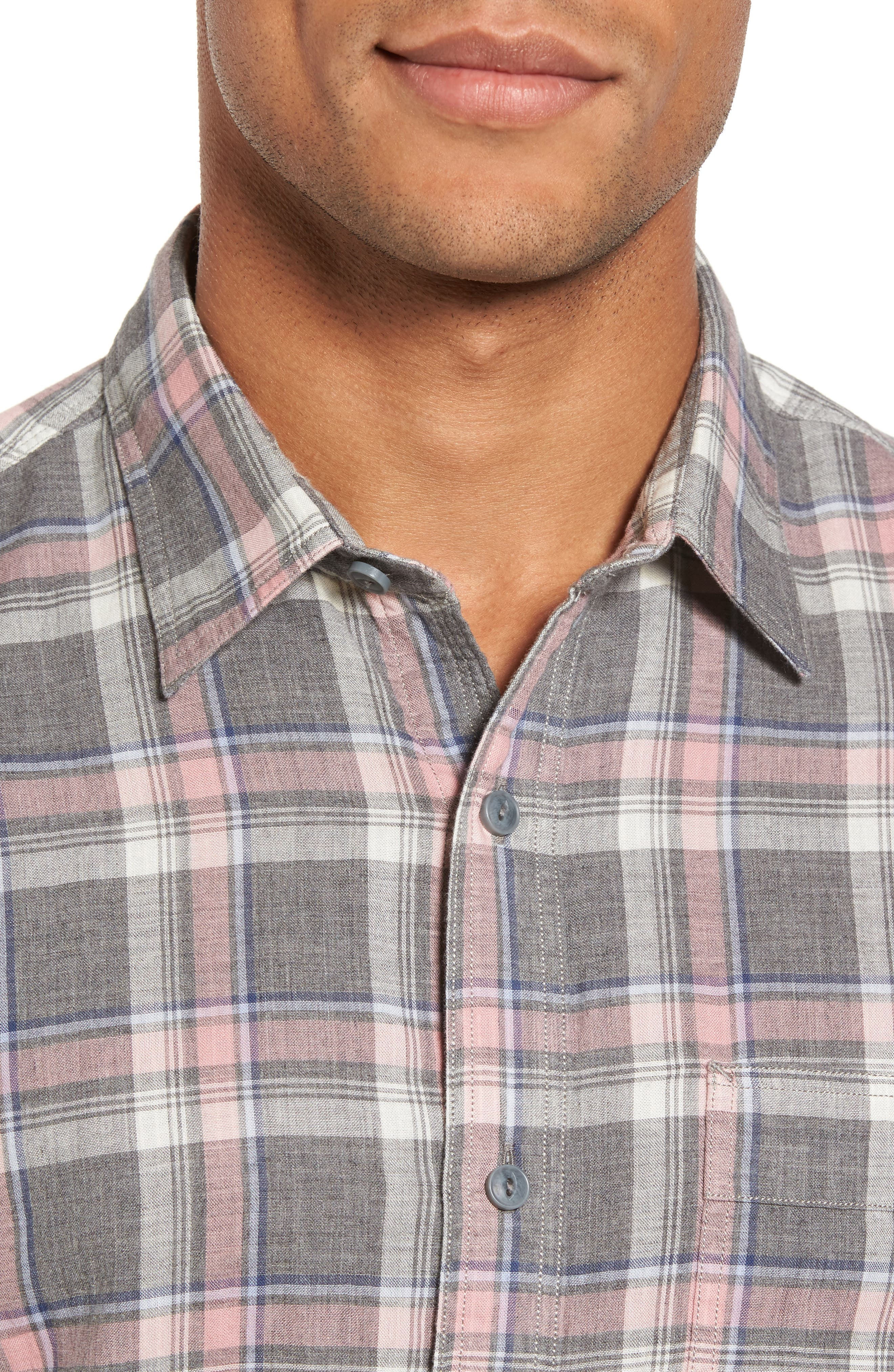 Trim Fit Utility Duofold Sport Shirt,                             Alternate thumbnail 4, color,                             Grey Paloma Pink Plaid Duofold