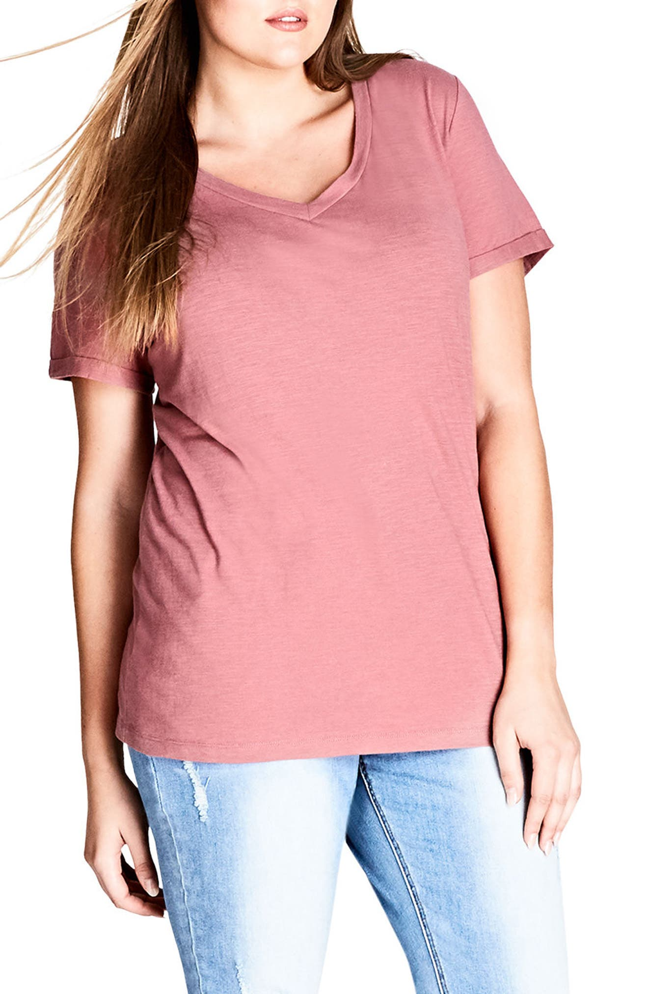 V-Neck Boyfriend Tee,                         Main,                         color, Dusty Pink
