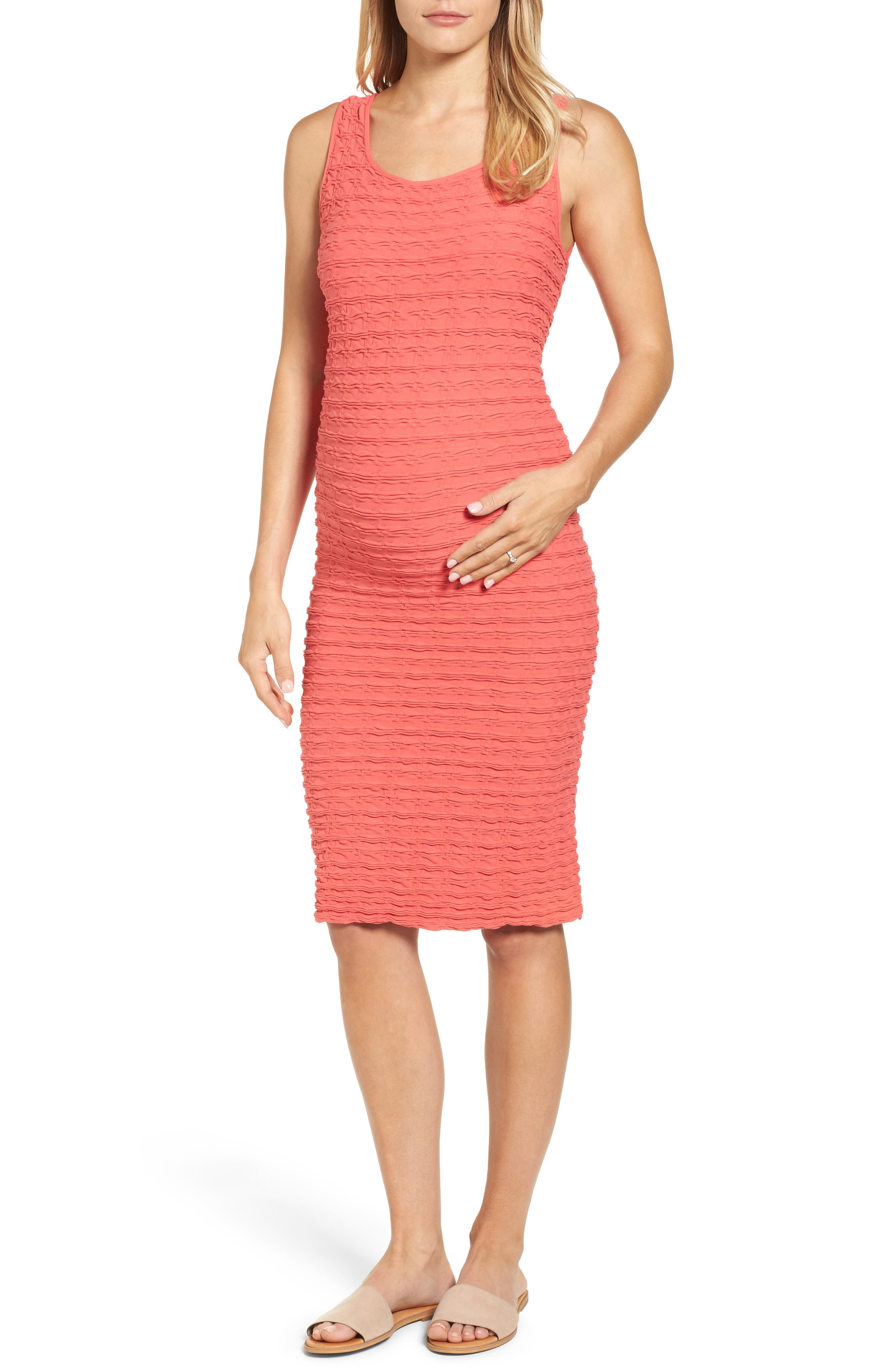 Crinkle Tank Maternity Dress,                         Main,                         color, Coral