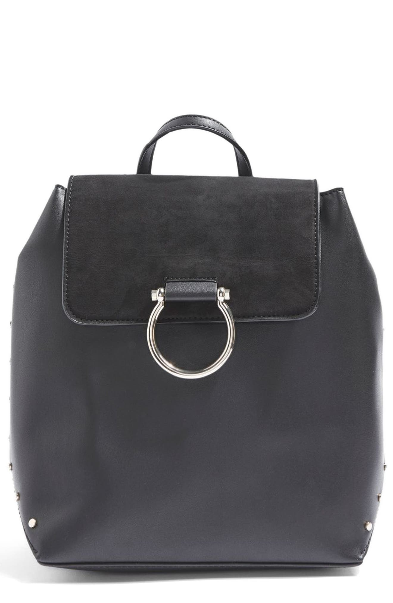 Remy Trophy Faux Leather Backpack,                             Main thumbnail 1, color,                             Black