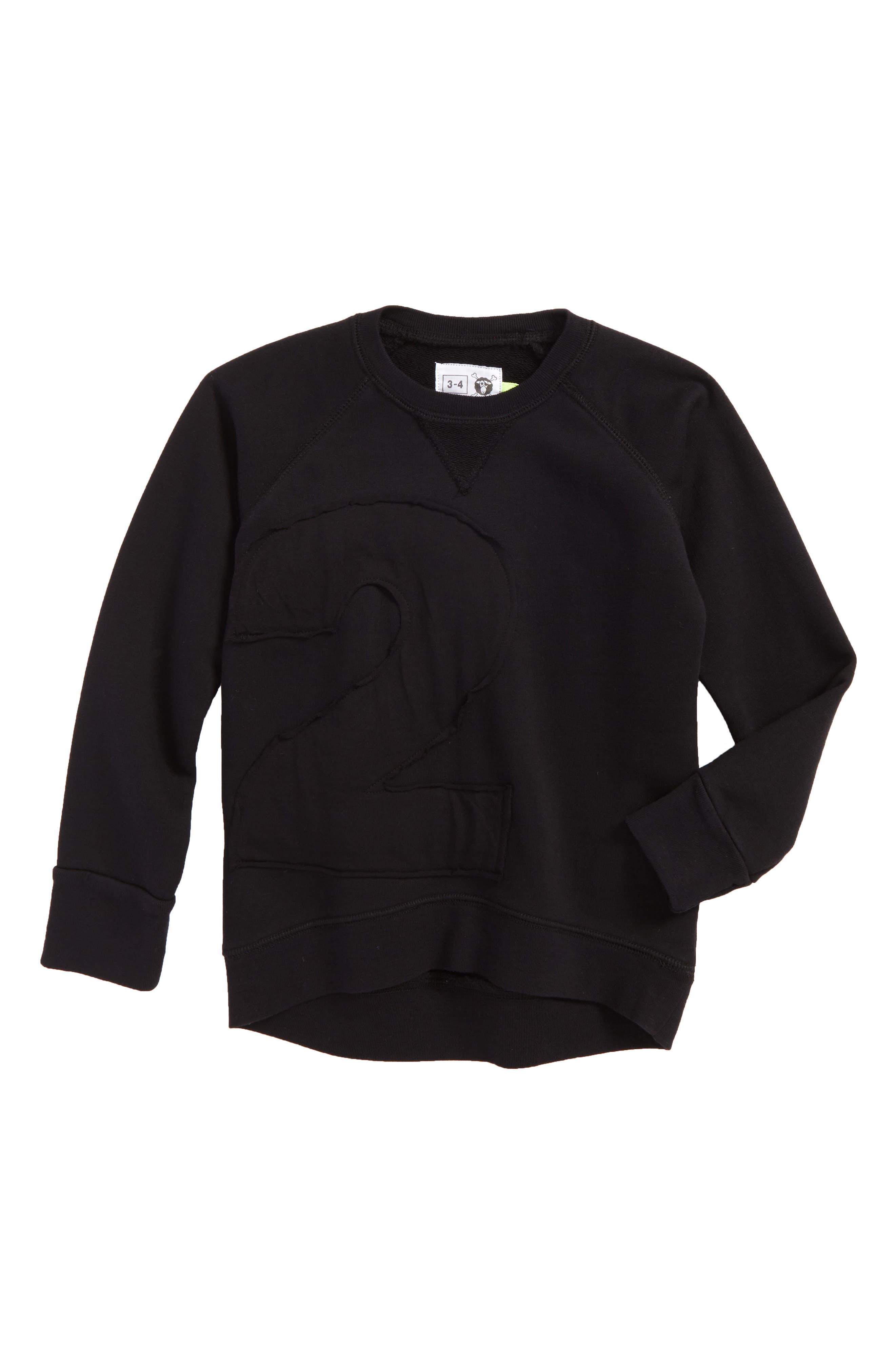 Puffy Number Sweatshirt,                         Main,                         color, Black