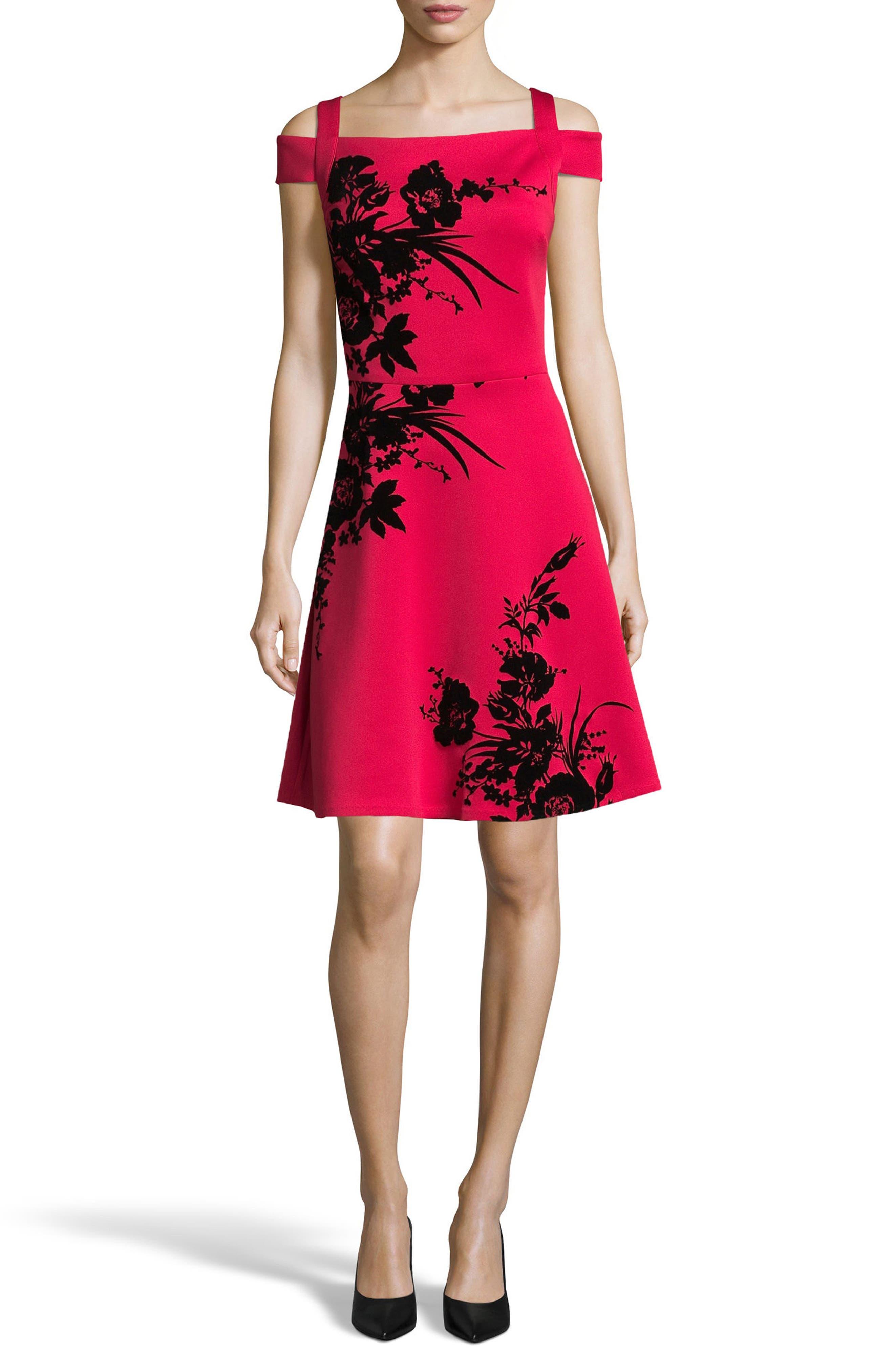 Flocked Scuba Knit Fit & Flare Dress,                             Main thumbnail 1, color,                             Red/ Black