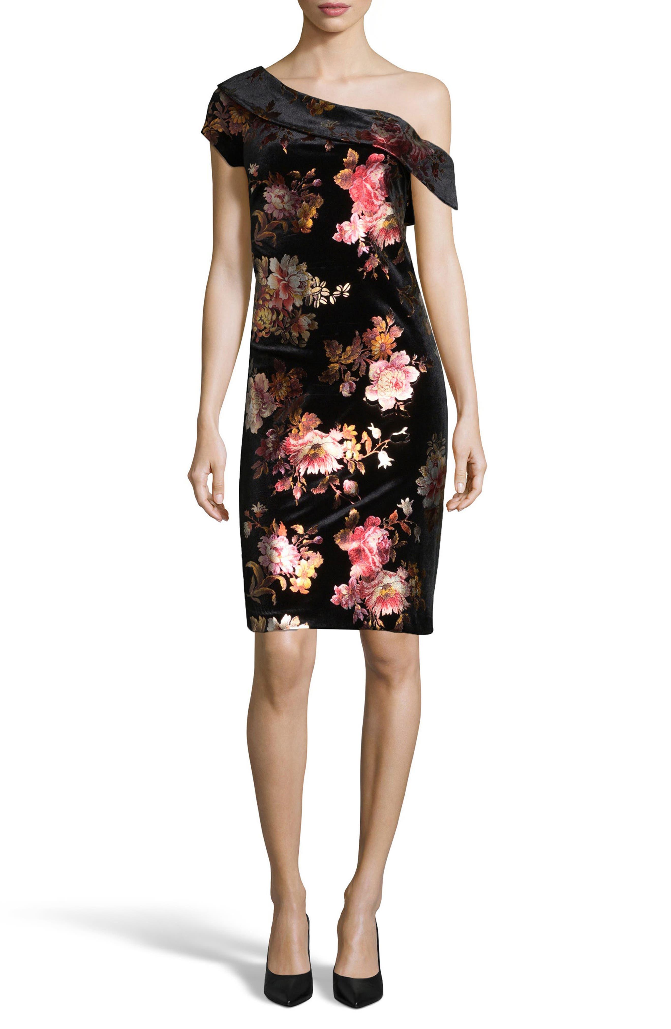 ECI One-Shoulder Foil Sheath Dress
