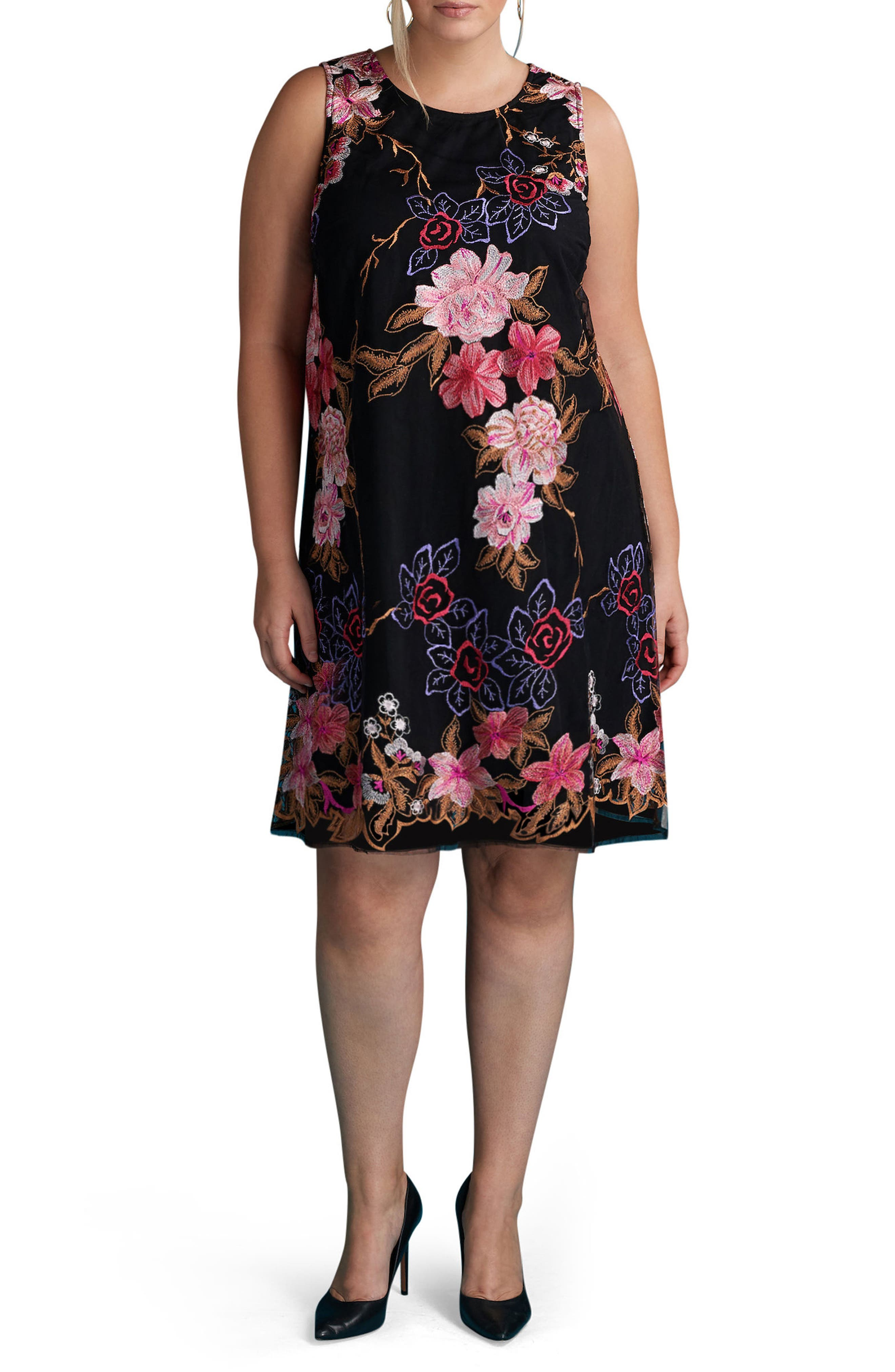 Floral Embroidered Shift Dress,                         Main,                         color, Black/ Pink