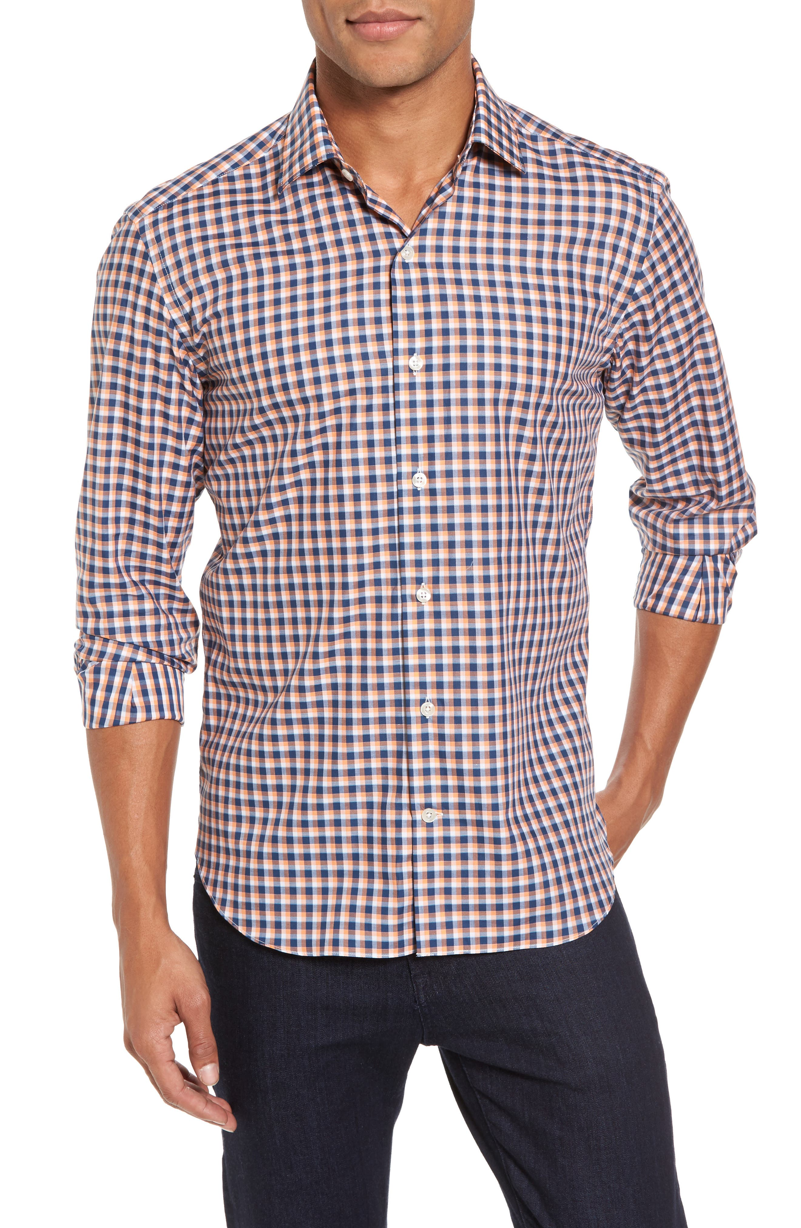 Slim Fit Check Twill Sport Shirt,                         Main,                         color, Orange