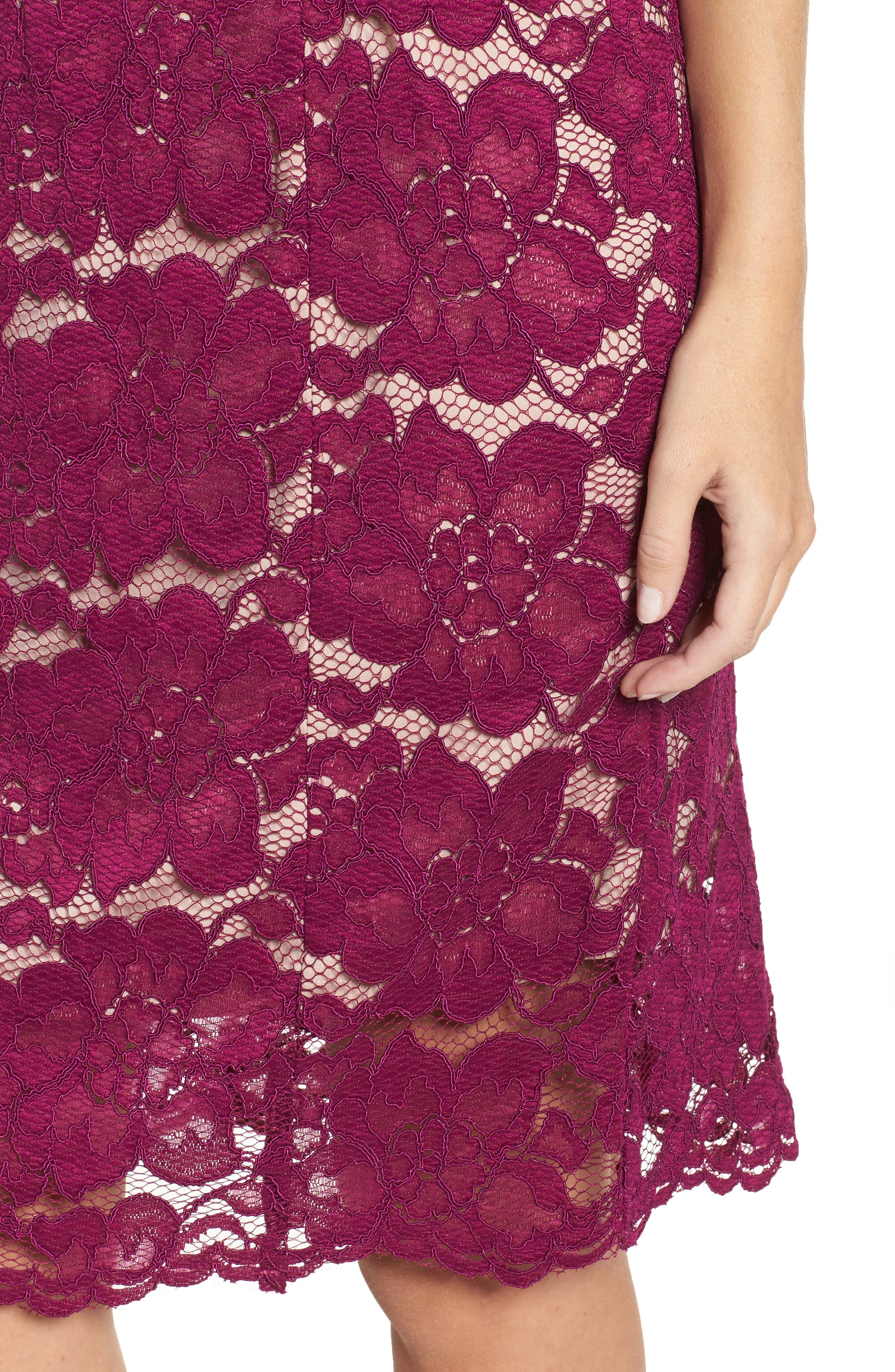 Twin Flower Lace Sheath Dress,                             Alternate thumbnail 4, color,                             Burgundy