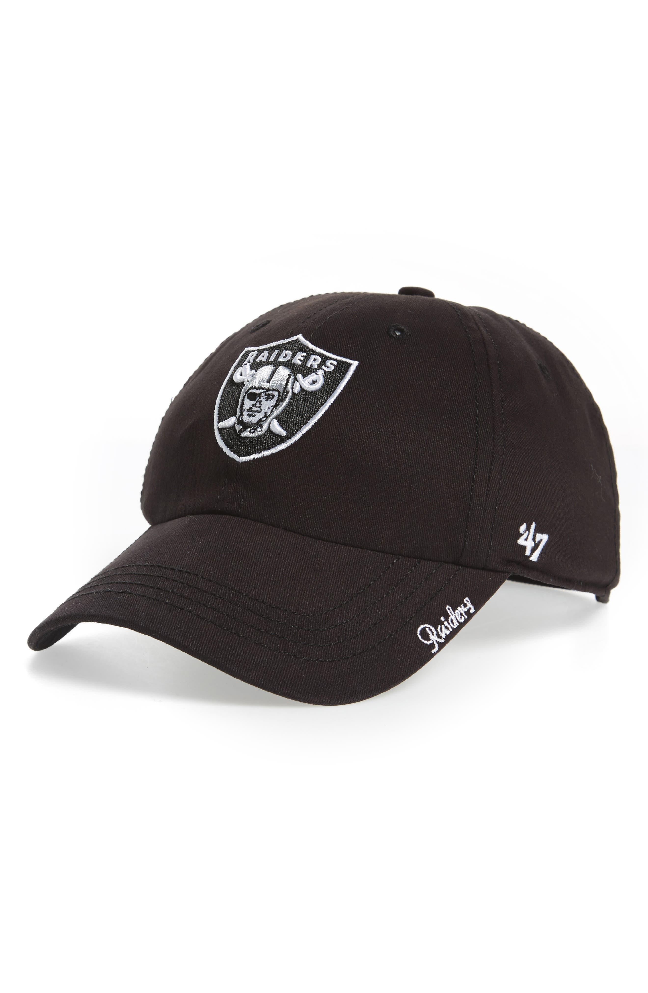 Miata Clean Up Oakland Raiders Ball Cap,                         Main,                         color, Black