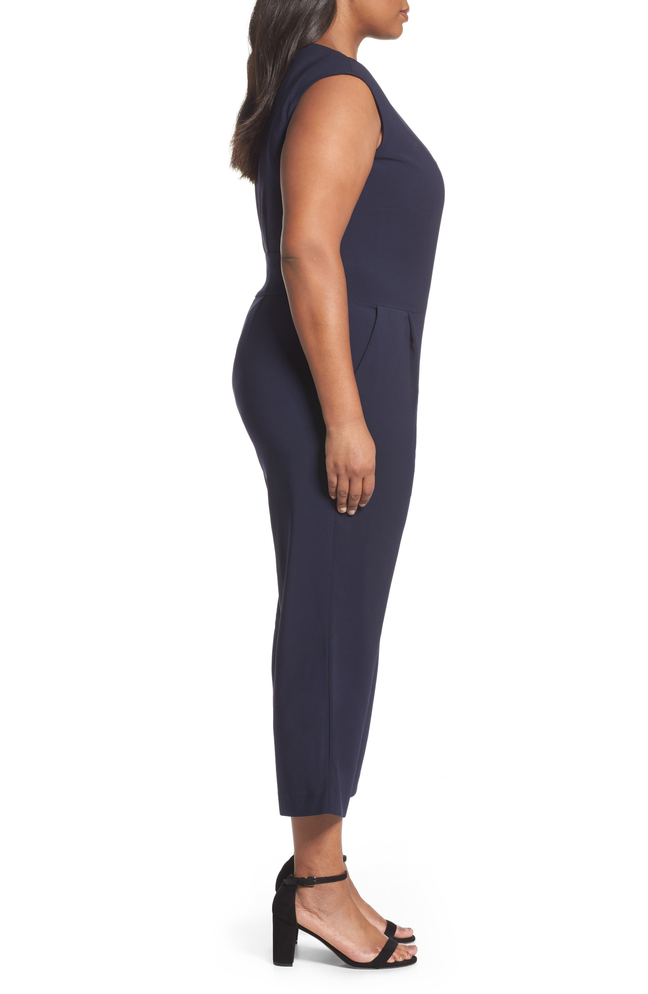 Alternate Image 3  - Tahari Wide Leg Crop Jumpsuit (Plus Size)